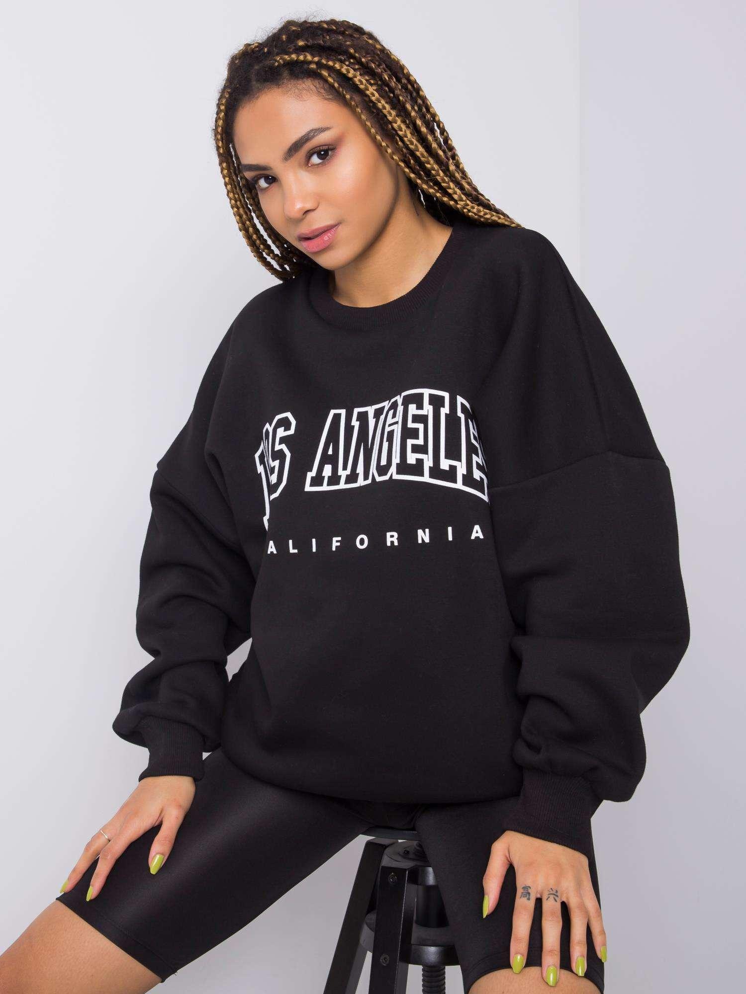Sweatshirt in Schwarz mit Aufdruck Vorderansicht