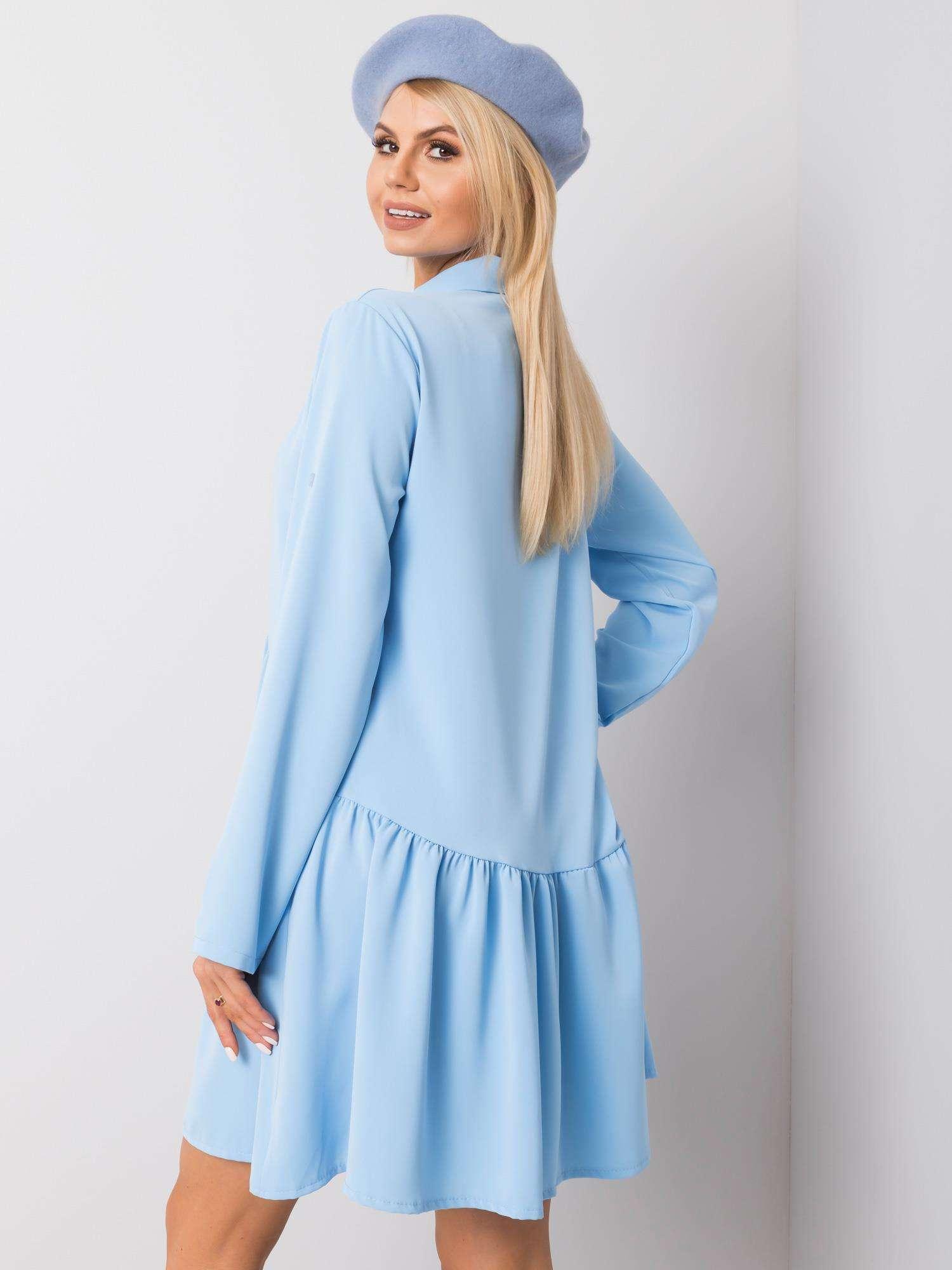 Minikleid in Hellblau Rückansicht