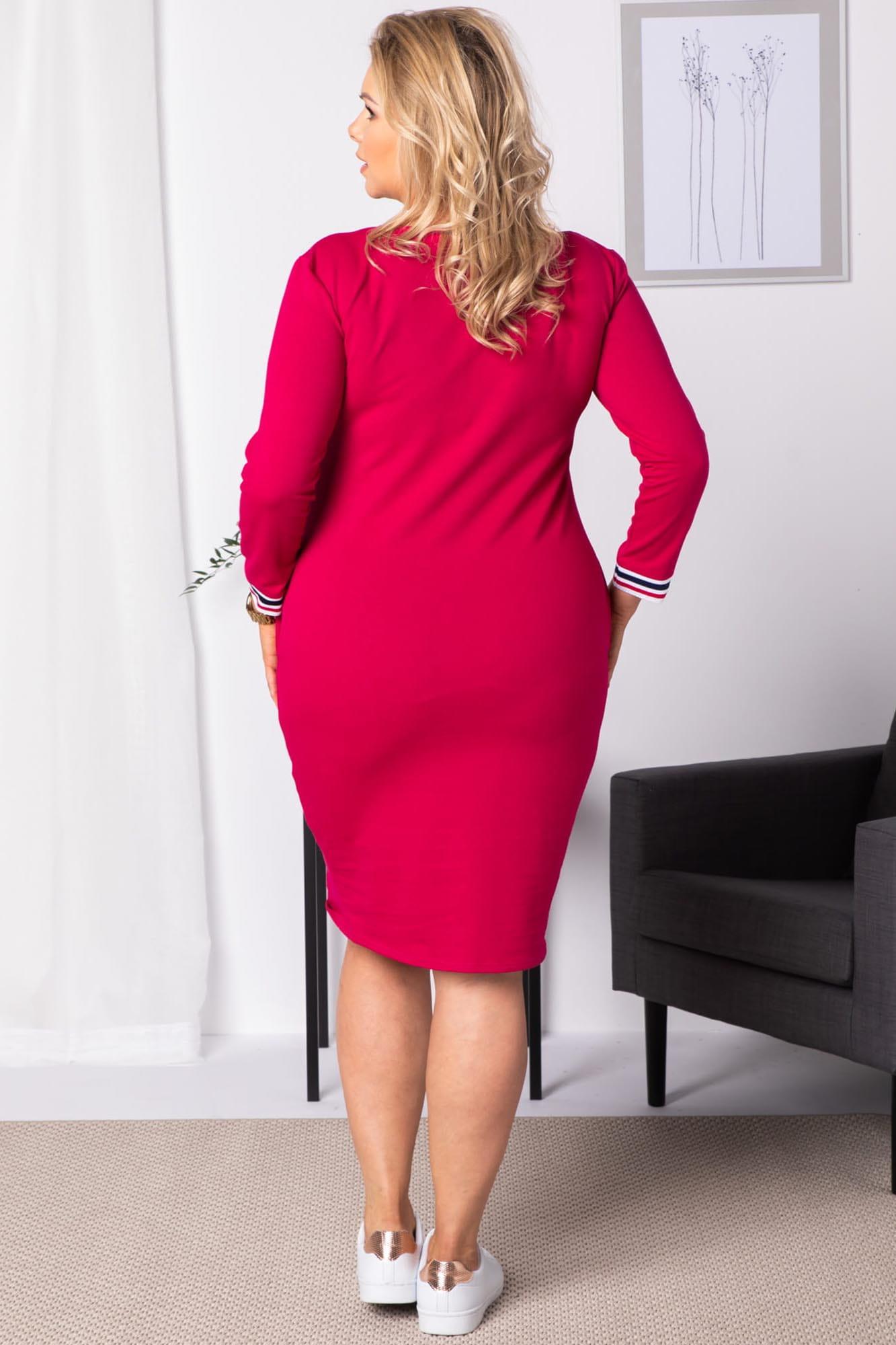 Kleid mit V-Ausschnitt in Pink Rückansicht