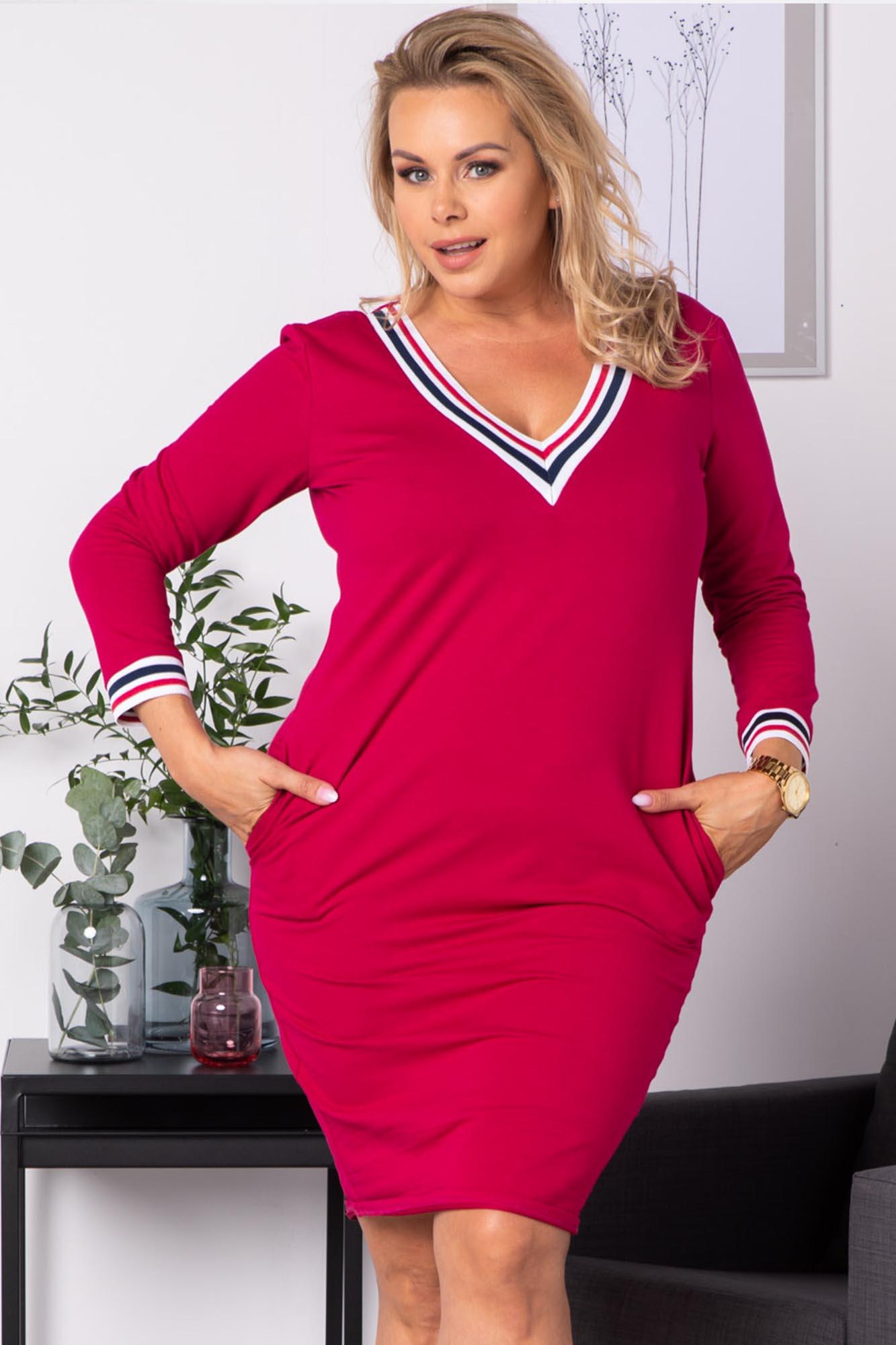 Kleid mit V-Ausschnitt in Pink Vorderansicht