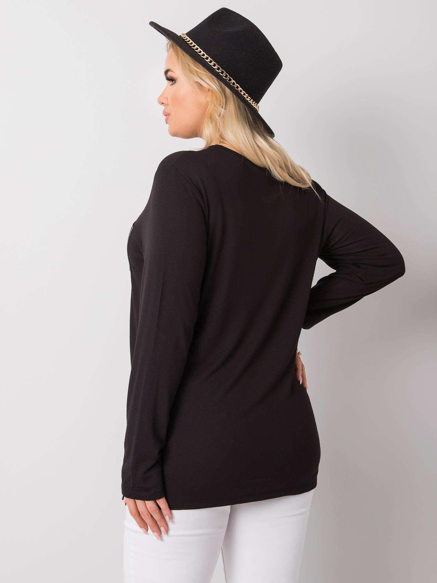 Longshirt in Schwarz mit Brusttasche Rückansicht
