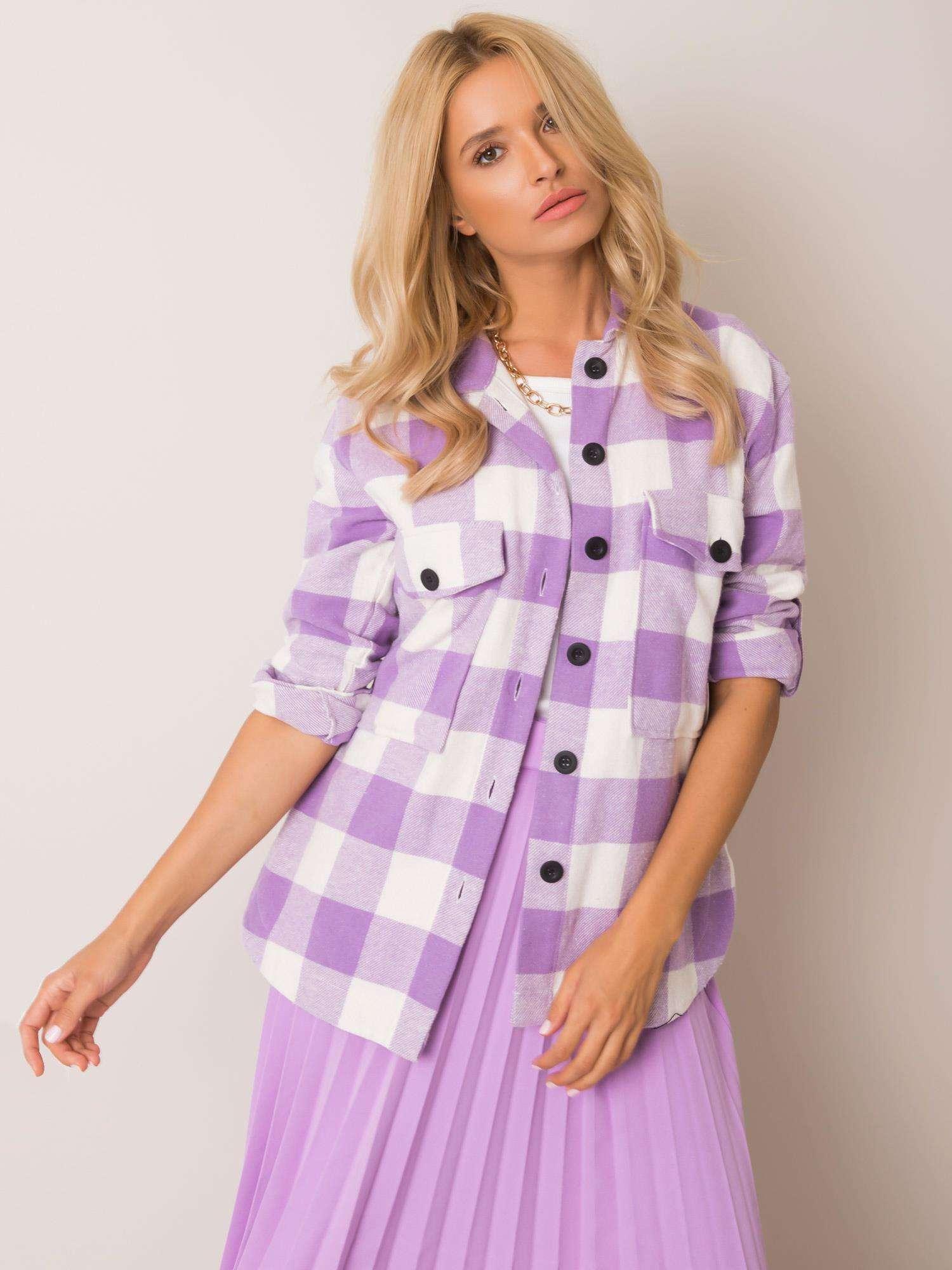 Overshirt mit violett weißem Karomuster Vorderansicht