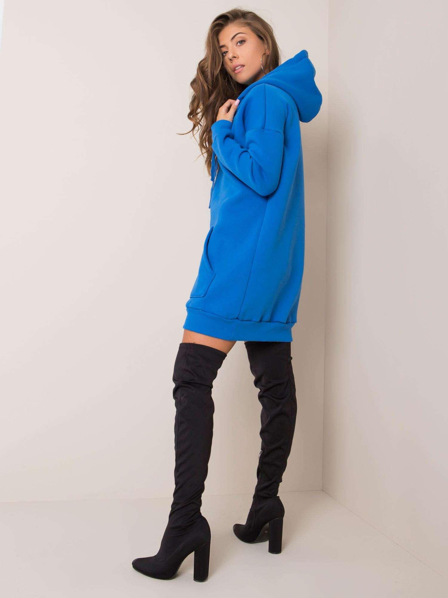Sweatshirt Kleid in Opal Blau Rückansicht