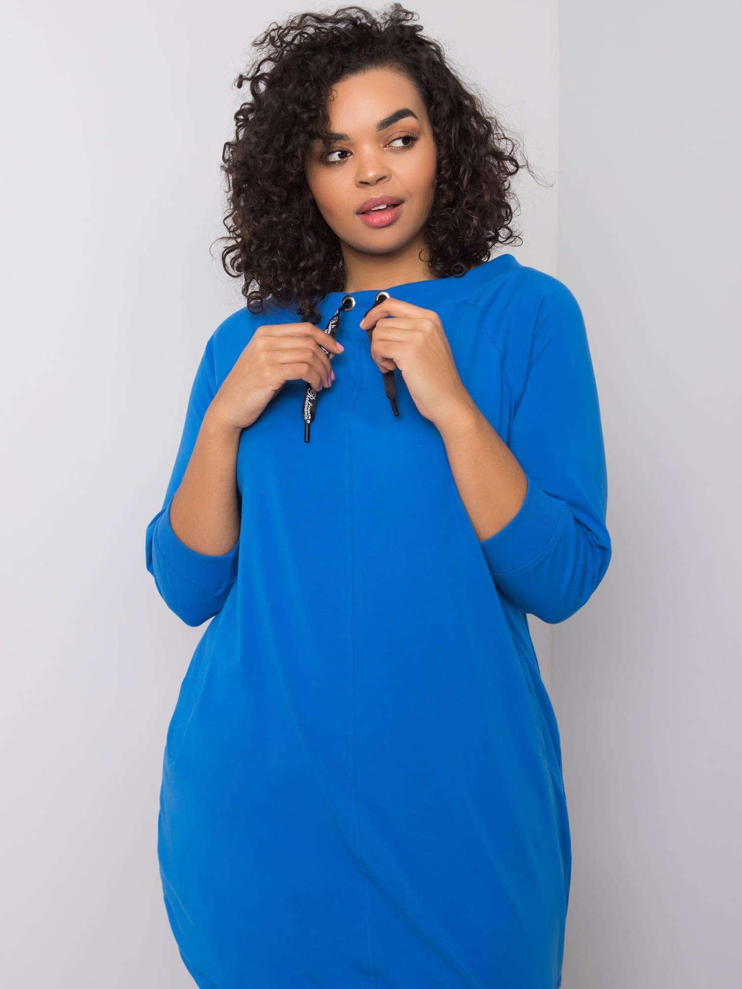 Sweatshirt Kleid in Opablau Curvy Detailansicht