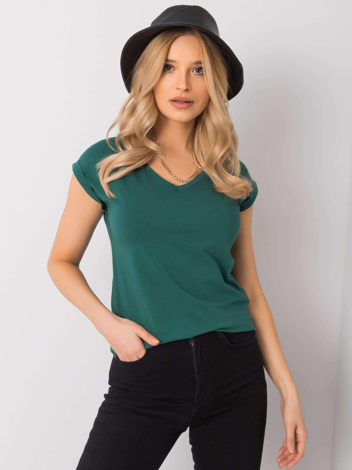 T-Shirt in Dunkelgrün mit V-Ausschnitt Komplettansicht