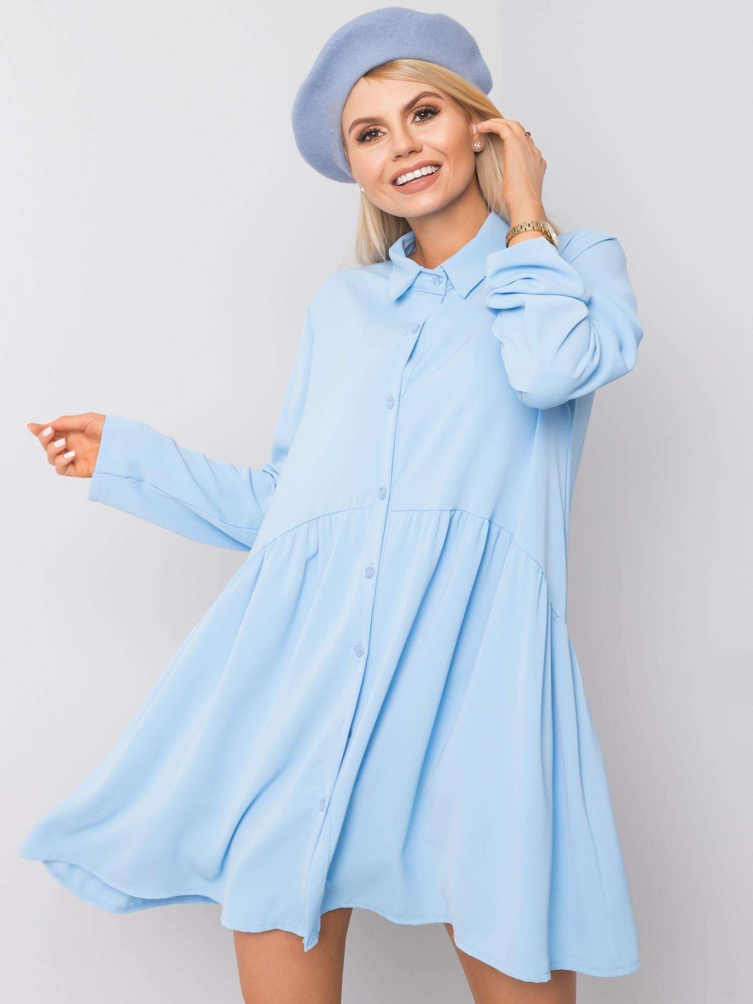 Minikleid in Hellblau Vorderansicht