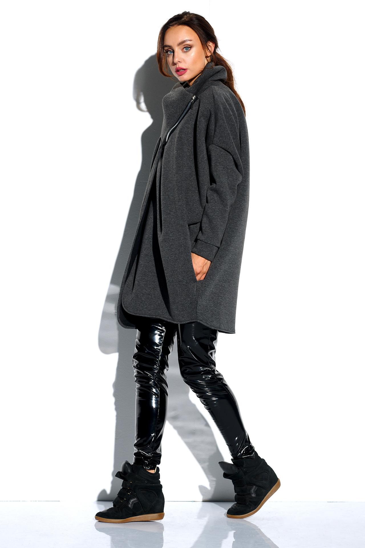 Dunkelgraues Oversized Sweatshirt mit Zipper