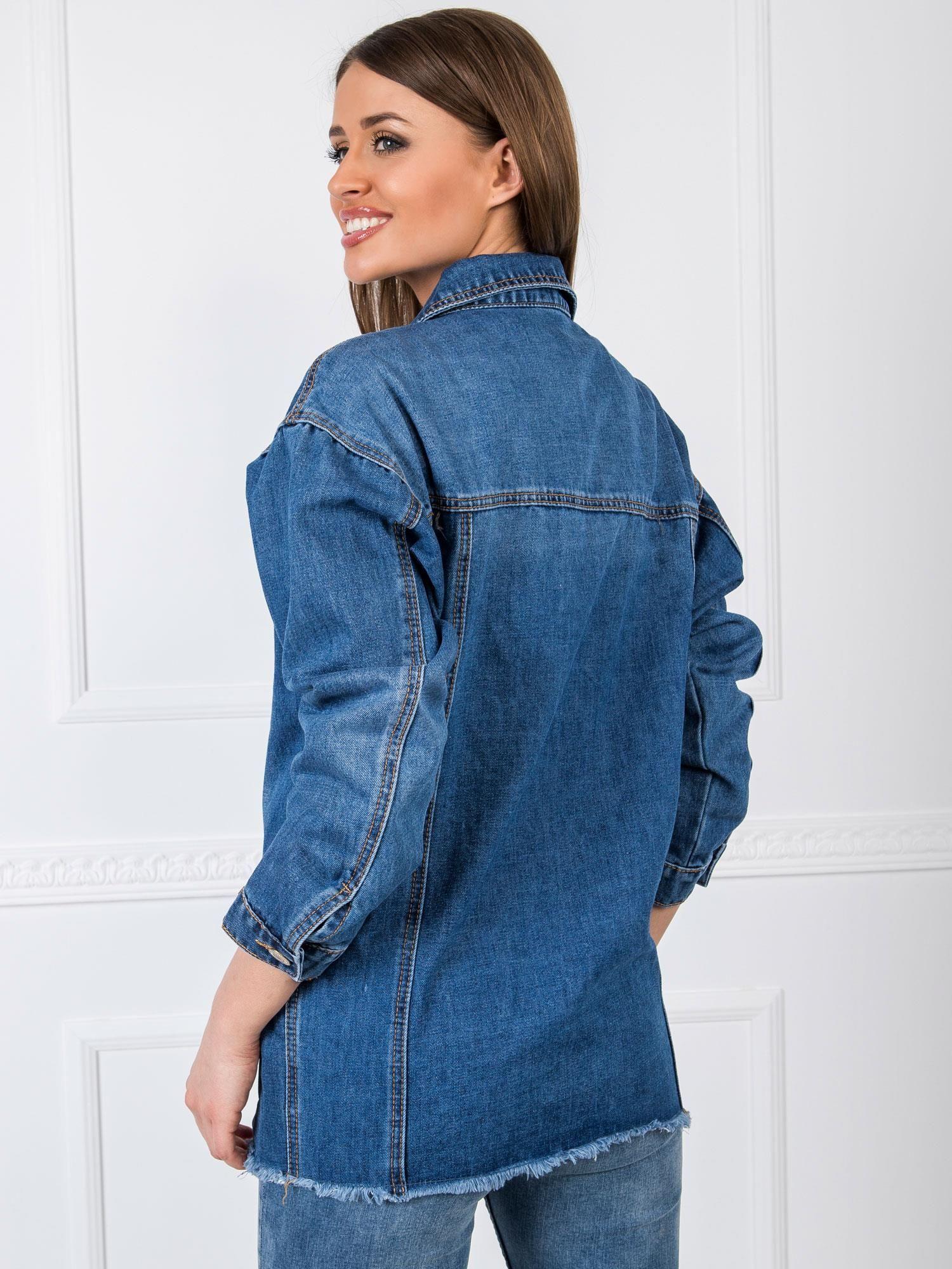 Jeansjacke in Dunkel mit offenem Saum Rückansicht