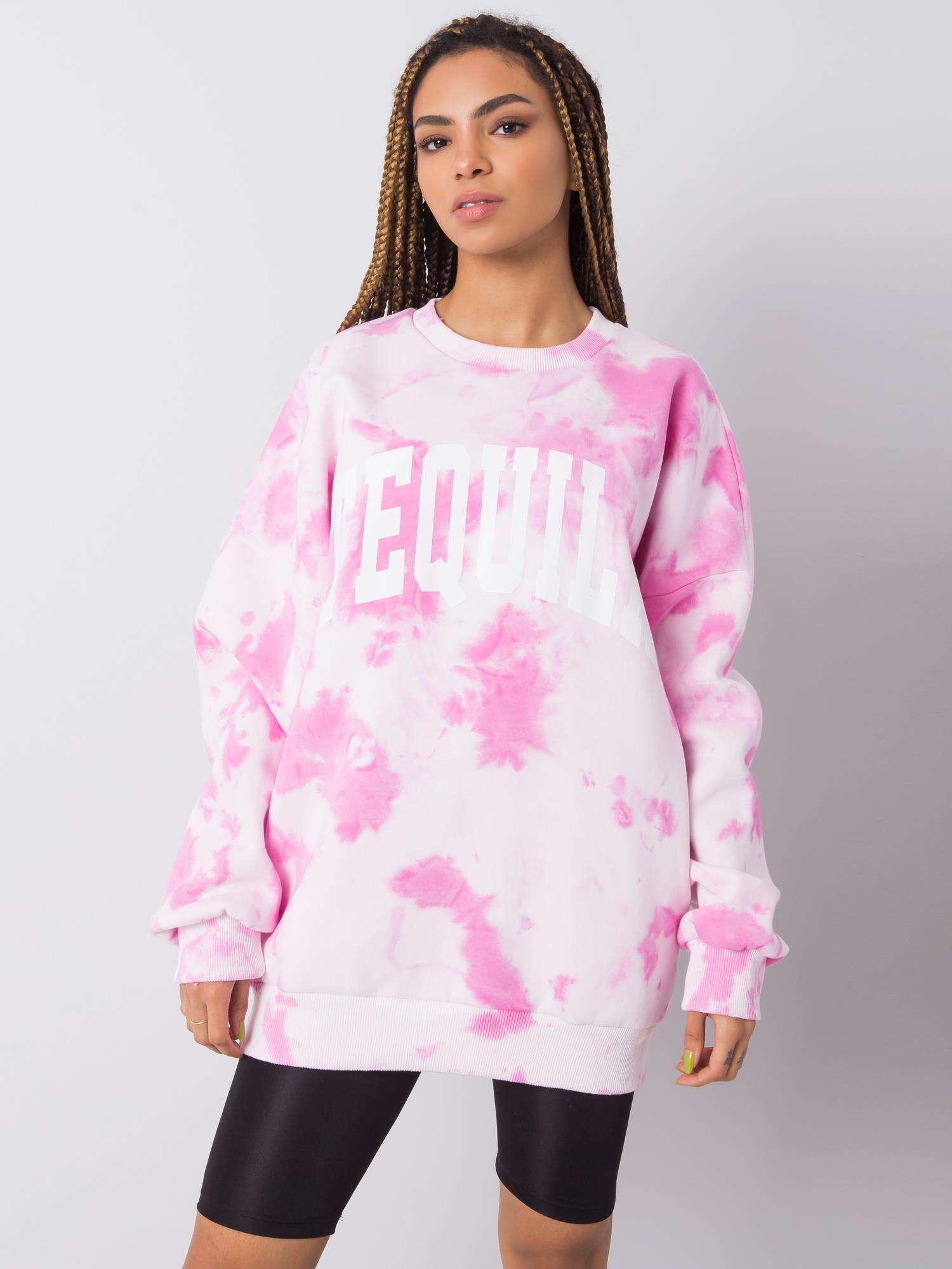 Sweatshirt in Rosa Weiß Tie-Dye Komplettansicht