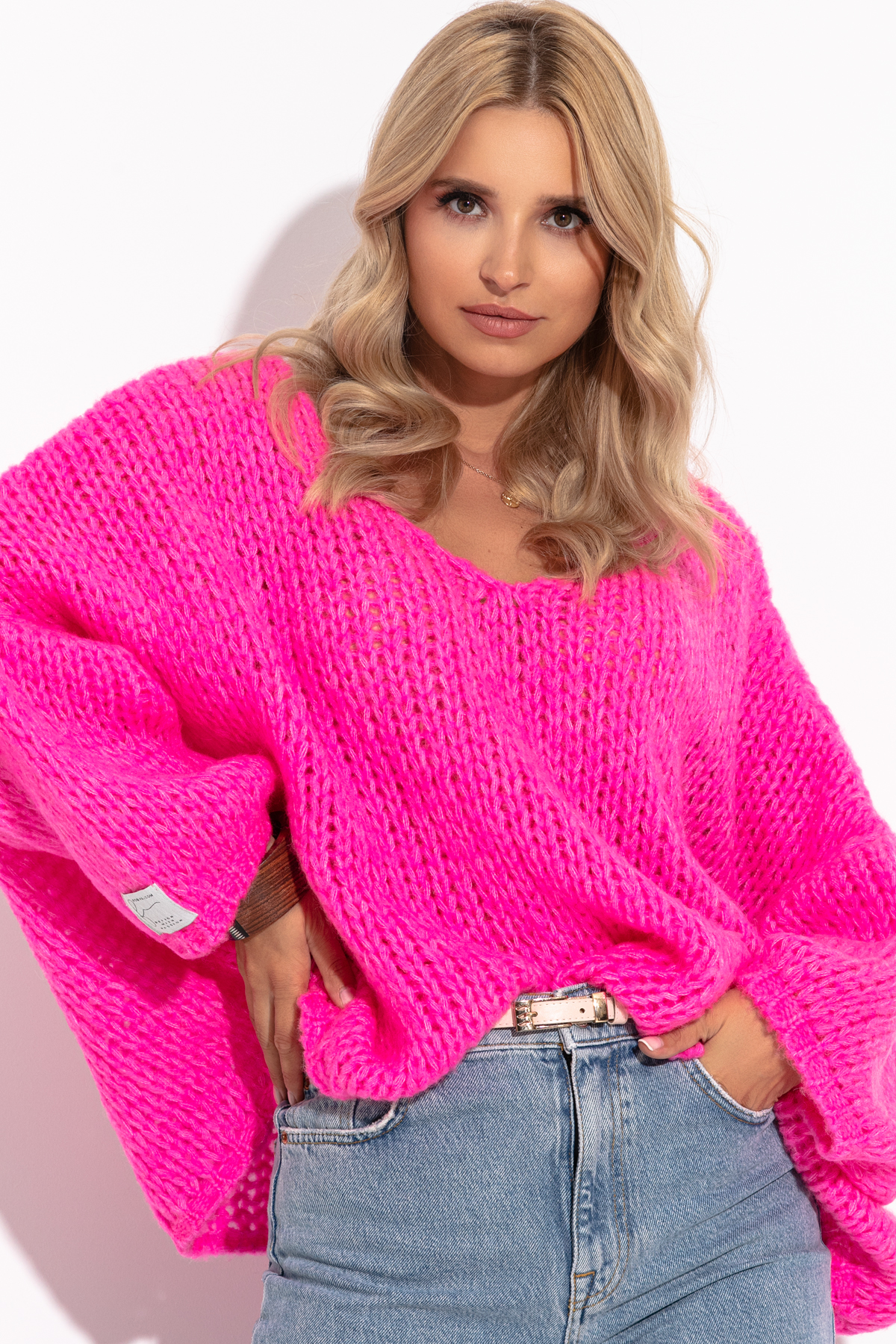 Pullover in Pink mit V-Ausschnitt Vorderansicht