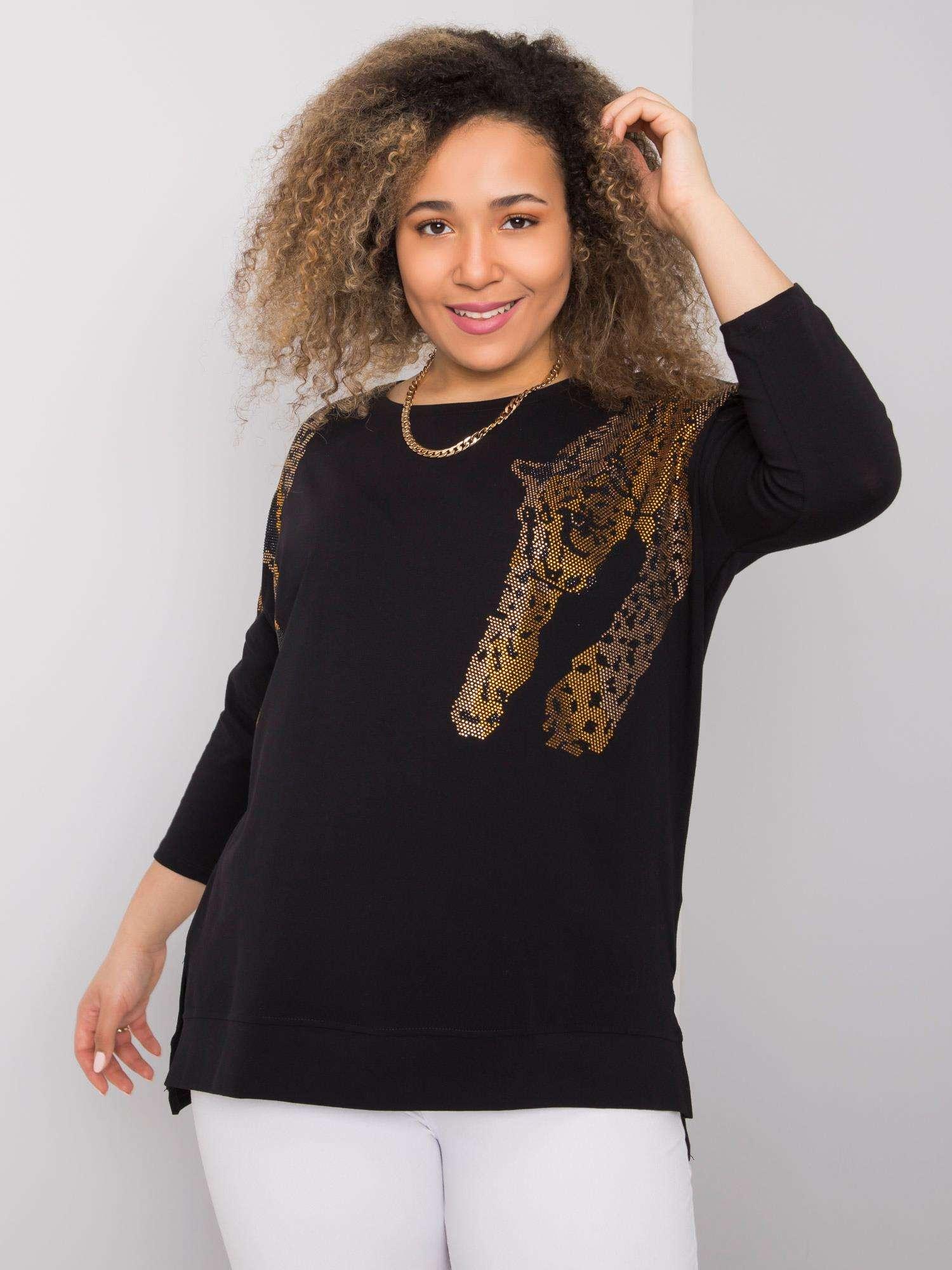 Long Shirt in Schwarz mit Panther Vorderansicht