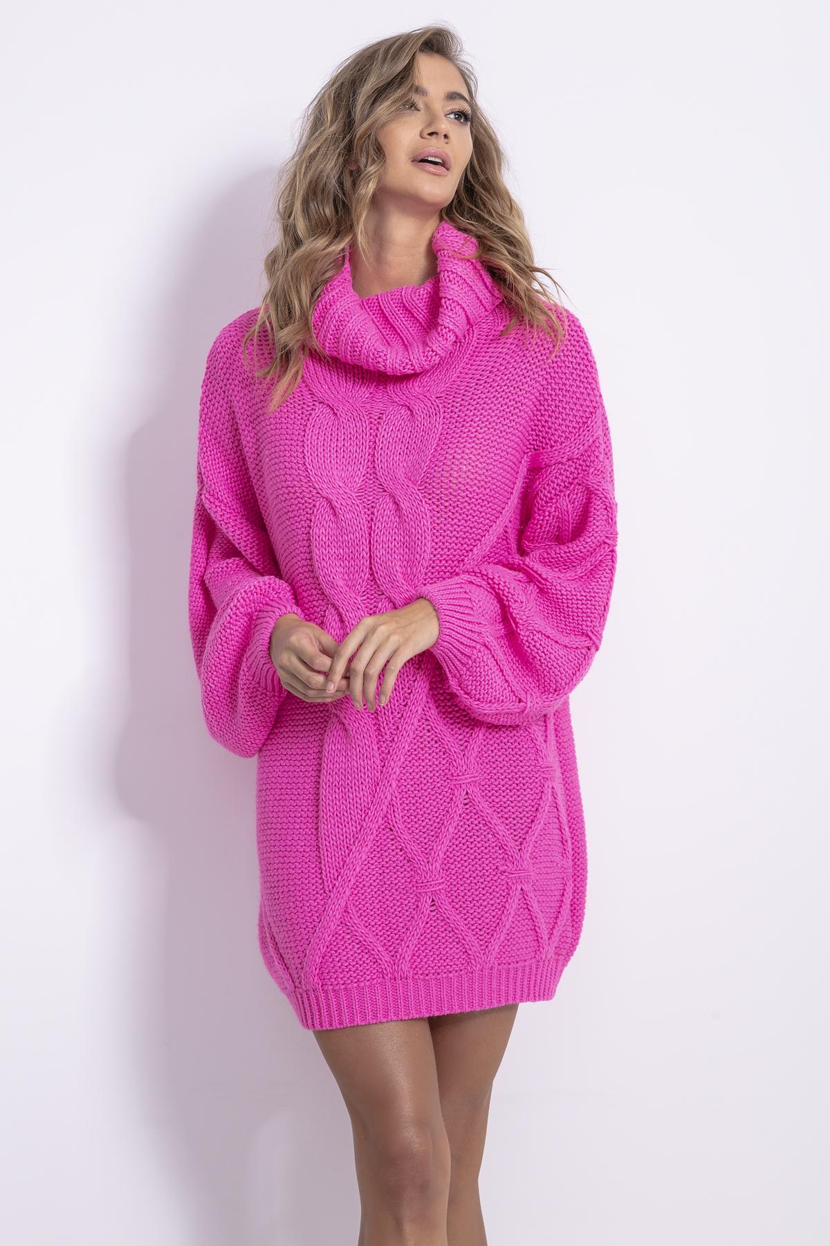 Strickkleid mit Rollkragen in Pink Vorderansicht