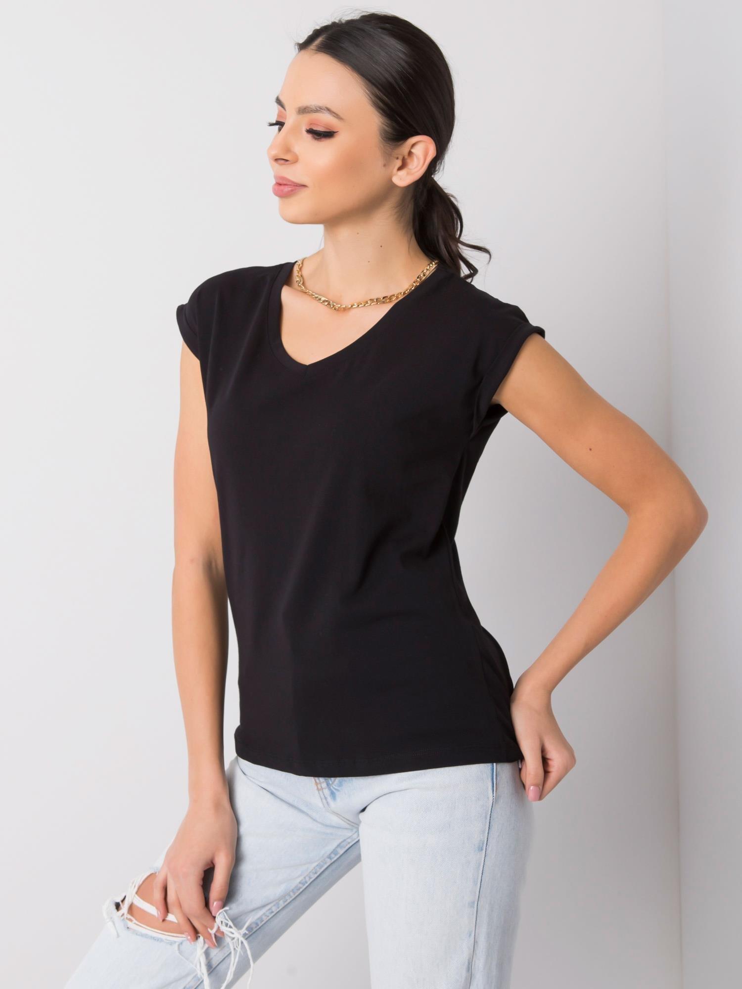 T-Shirt in Schwarz mit V-Ausschnitt Vorderansicht schräg