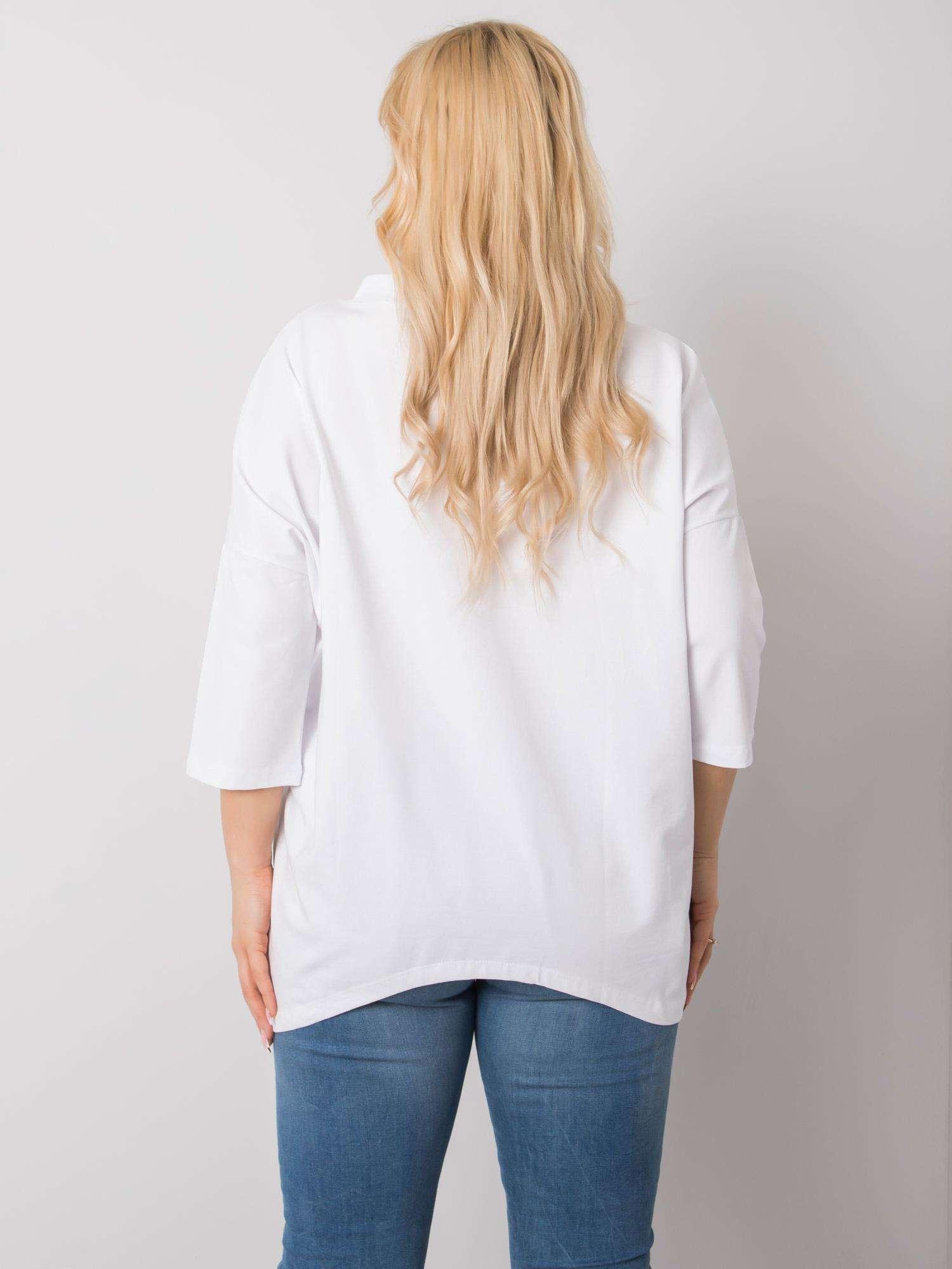 Long Shirt in Weiß mit Print Rückenansicht