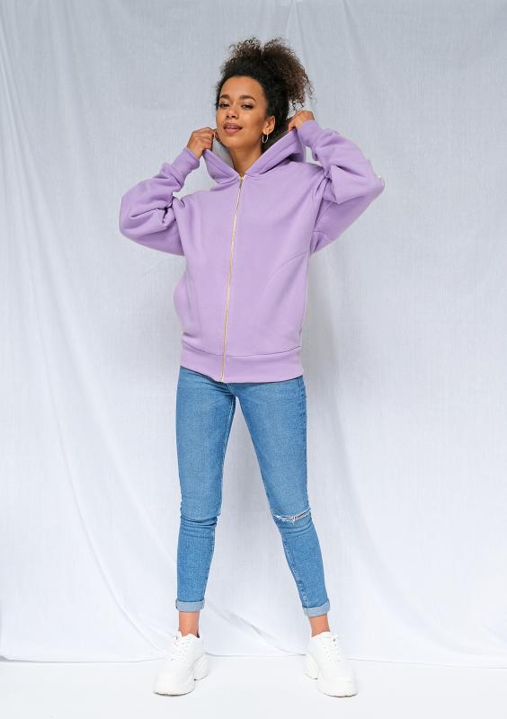 Sweatshirt-Jacke in Flieder mit seitlichen Jacquard-Streifen