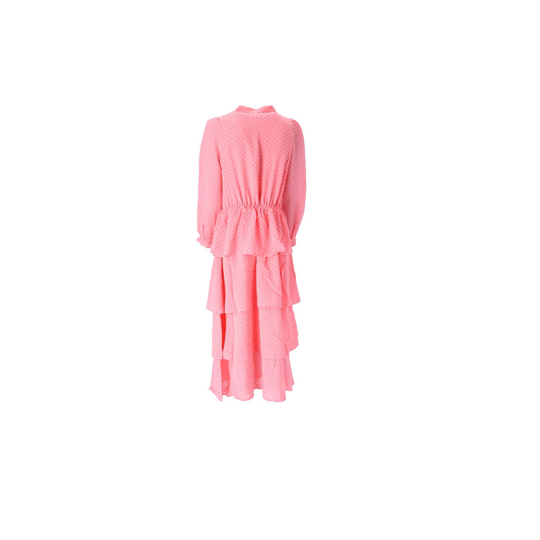 Kleid in Pink mit Stufenrock Rückansicht