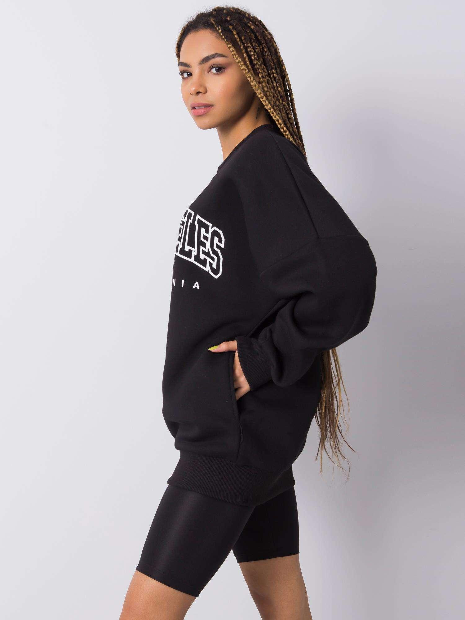 Sweatshirt in Schwarz mit Aufdruck Seitenansicht