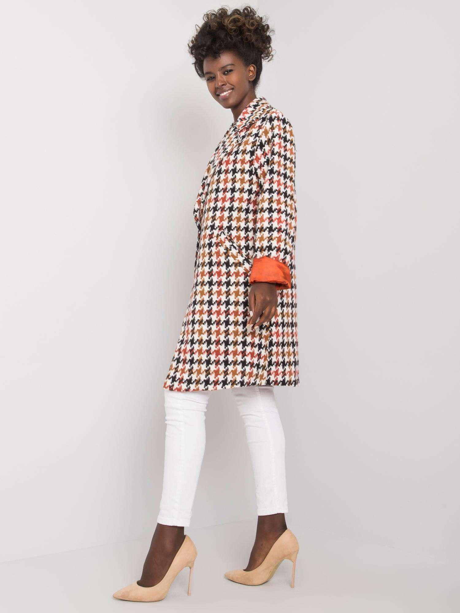 Mantel in Weiß-braun mit Hahnentrittmuster Seitenansicht