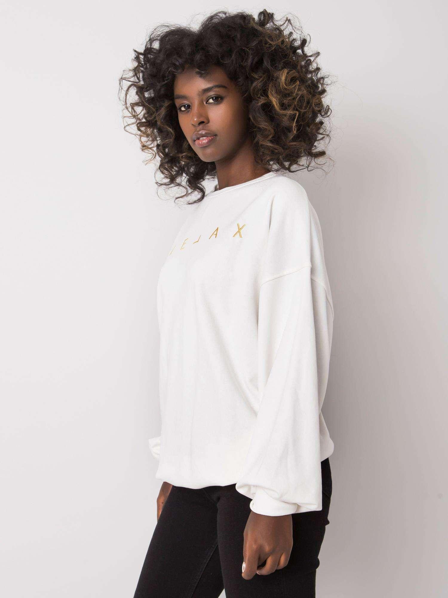 Sweatshirt in Ecru mit goldener  Stickerei Seitenansicht