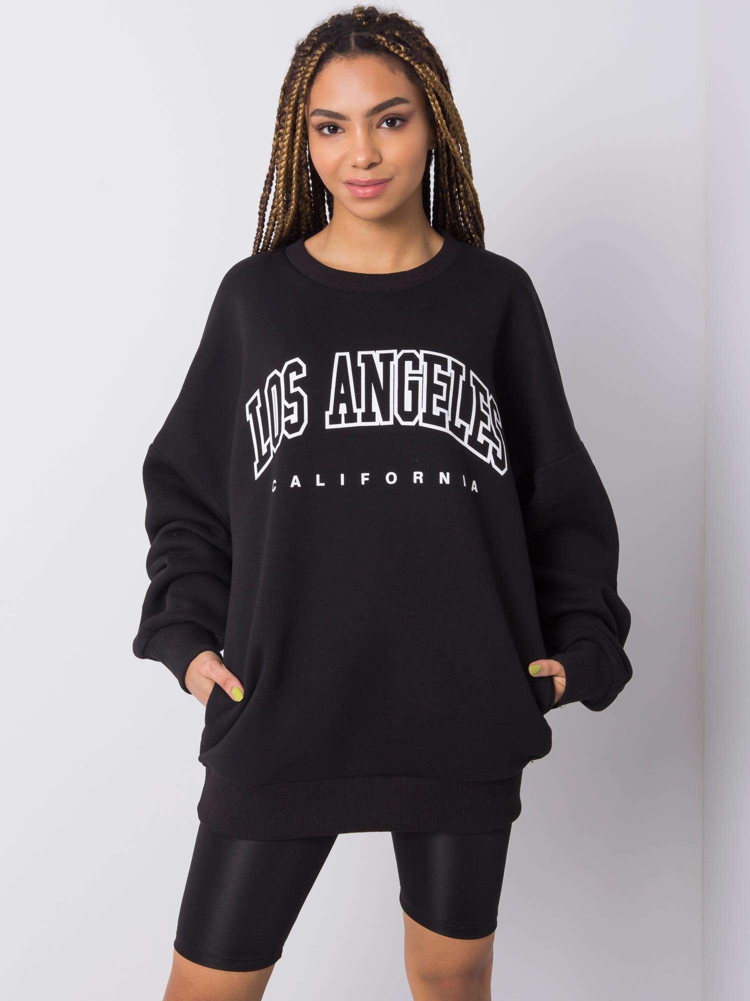 Sweatshirt in Schwarz mit Aufdruck Komplettansicht