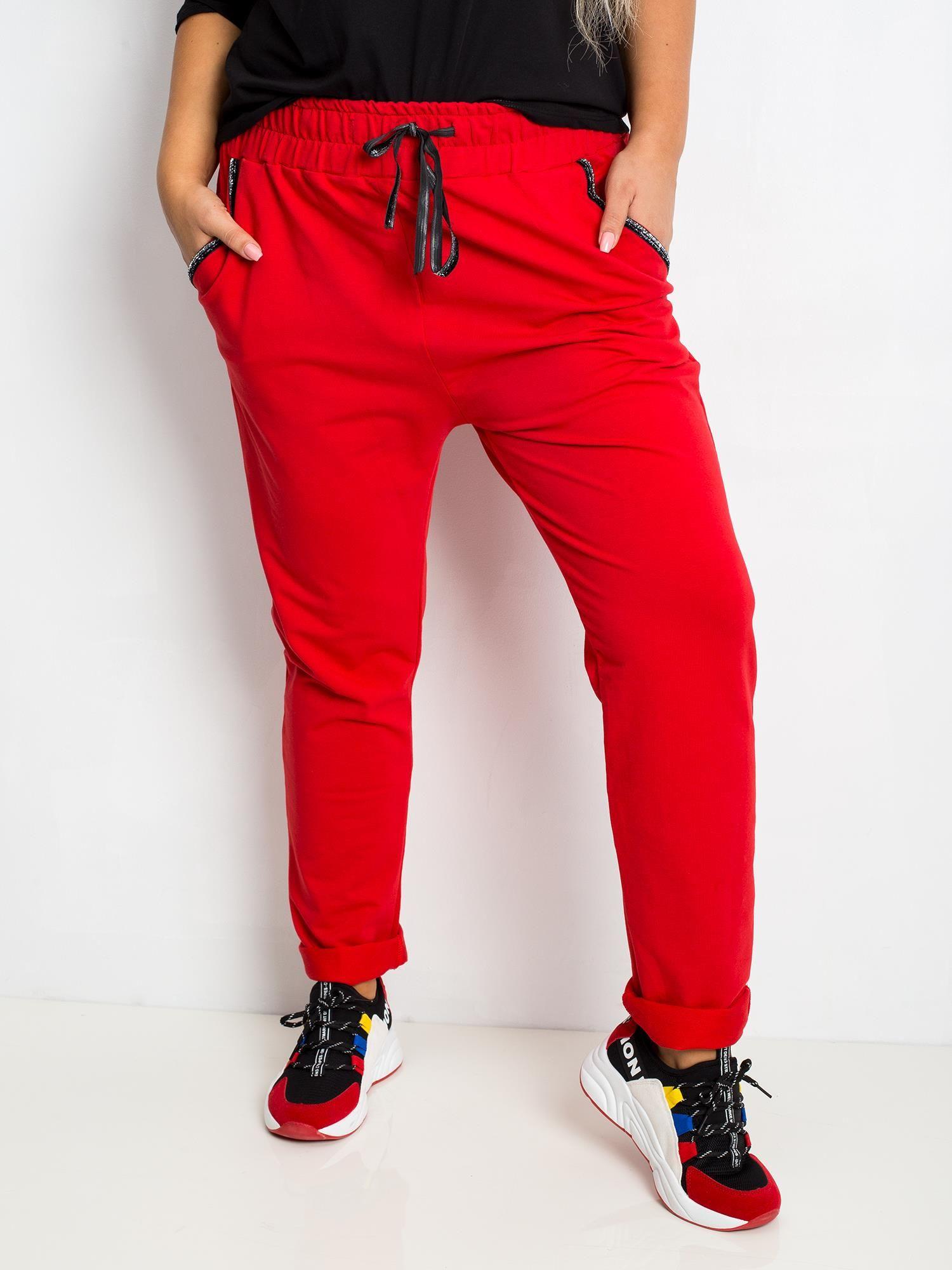 Joggpants in Rot mit Glitzerstreifen Vorderansicht