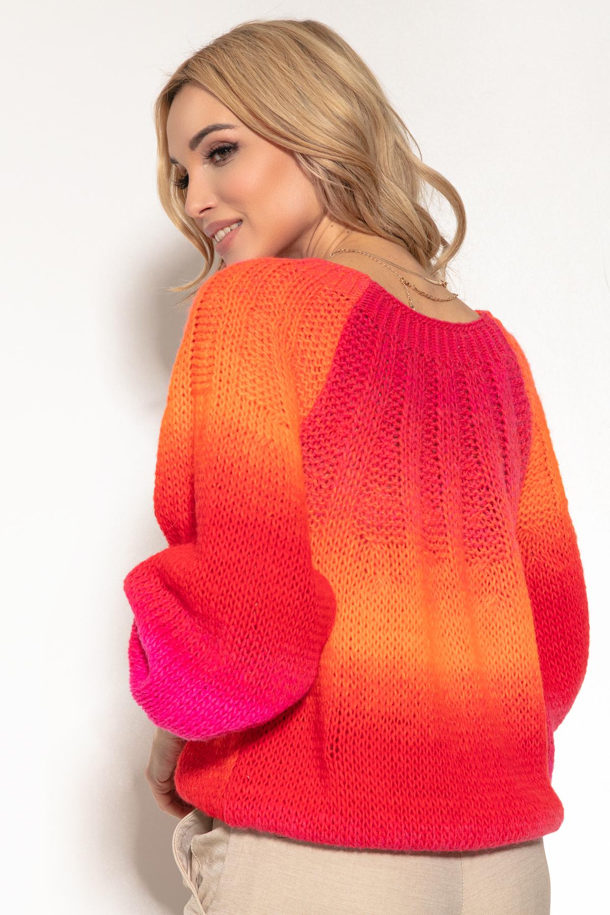 Pullover mit Farbverlauf in Orange Pink und Rot Rückansicht