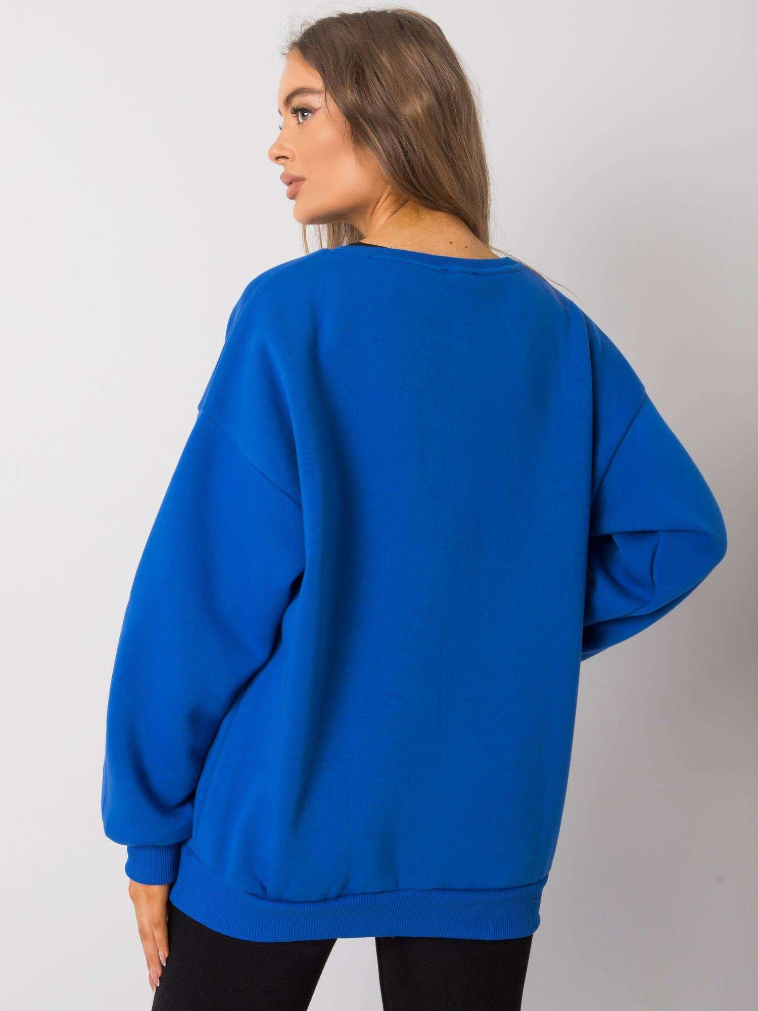 Sweatshirt in Azurblau mit großem Frontpatch Rückansicht