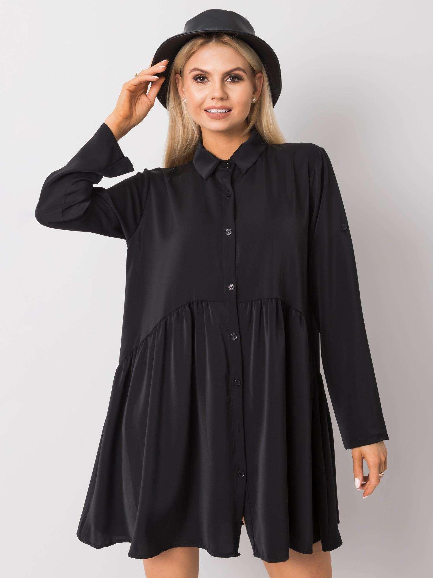 Minikleid in Schwarz mit verspieltem Look Vorderansicht