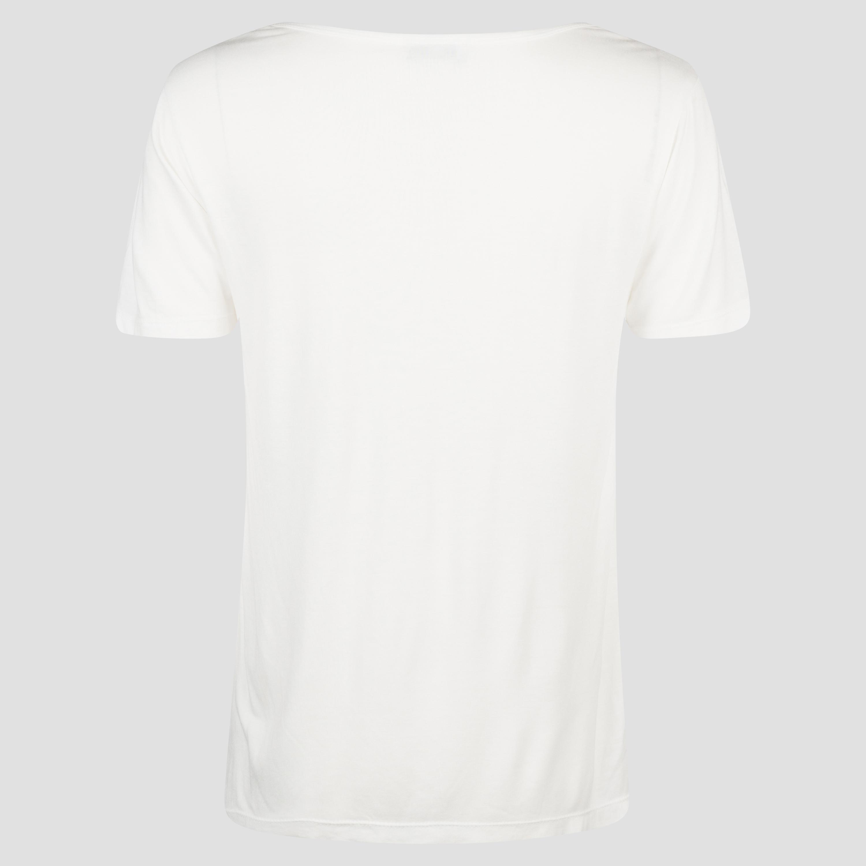 Cremefarbenes T-Shirt mit V-Ausschnitt