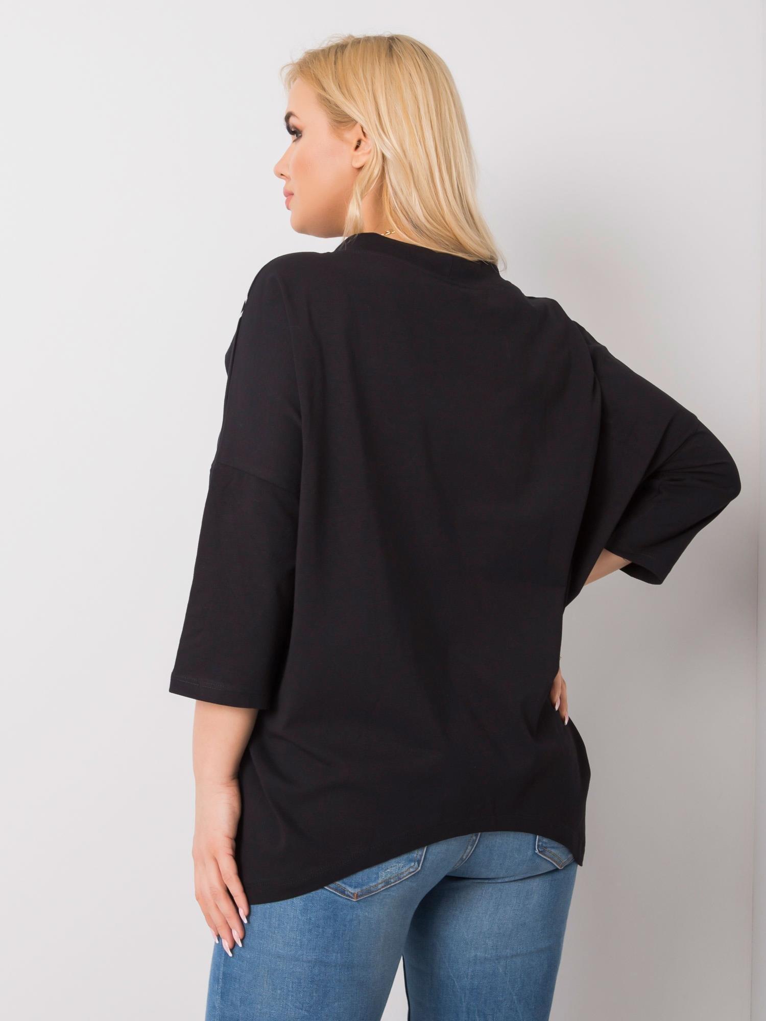 Long Shirt in Schwarz mit Print Rückenansicht