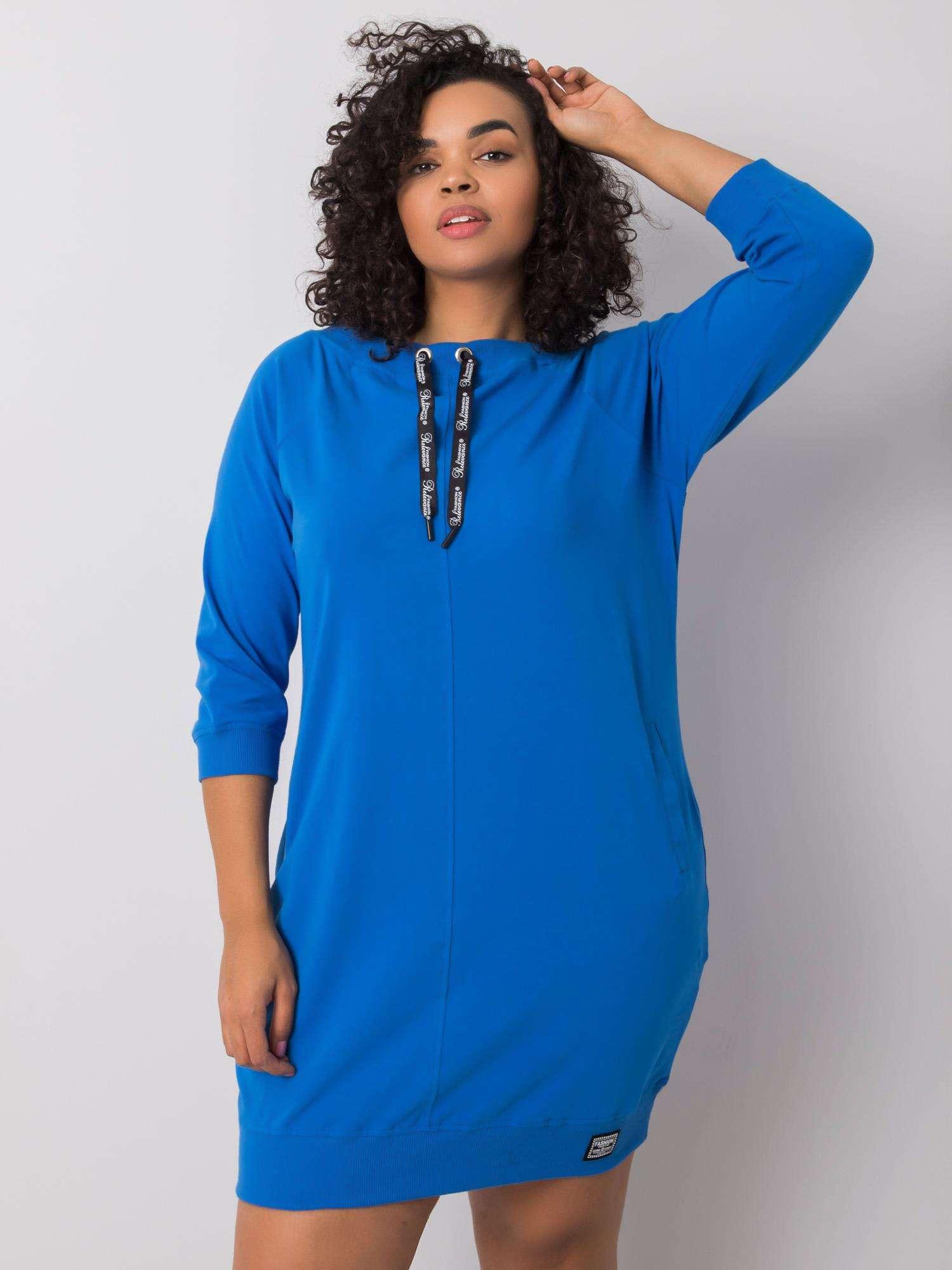 Sweatshirt Kleid in Opablau Curvy Vorderansicht