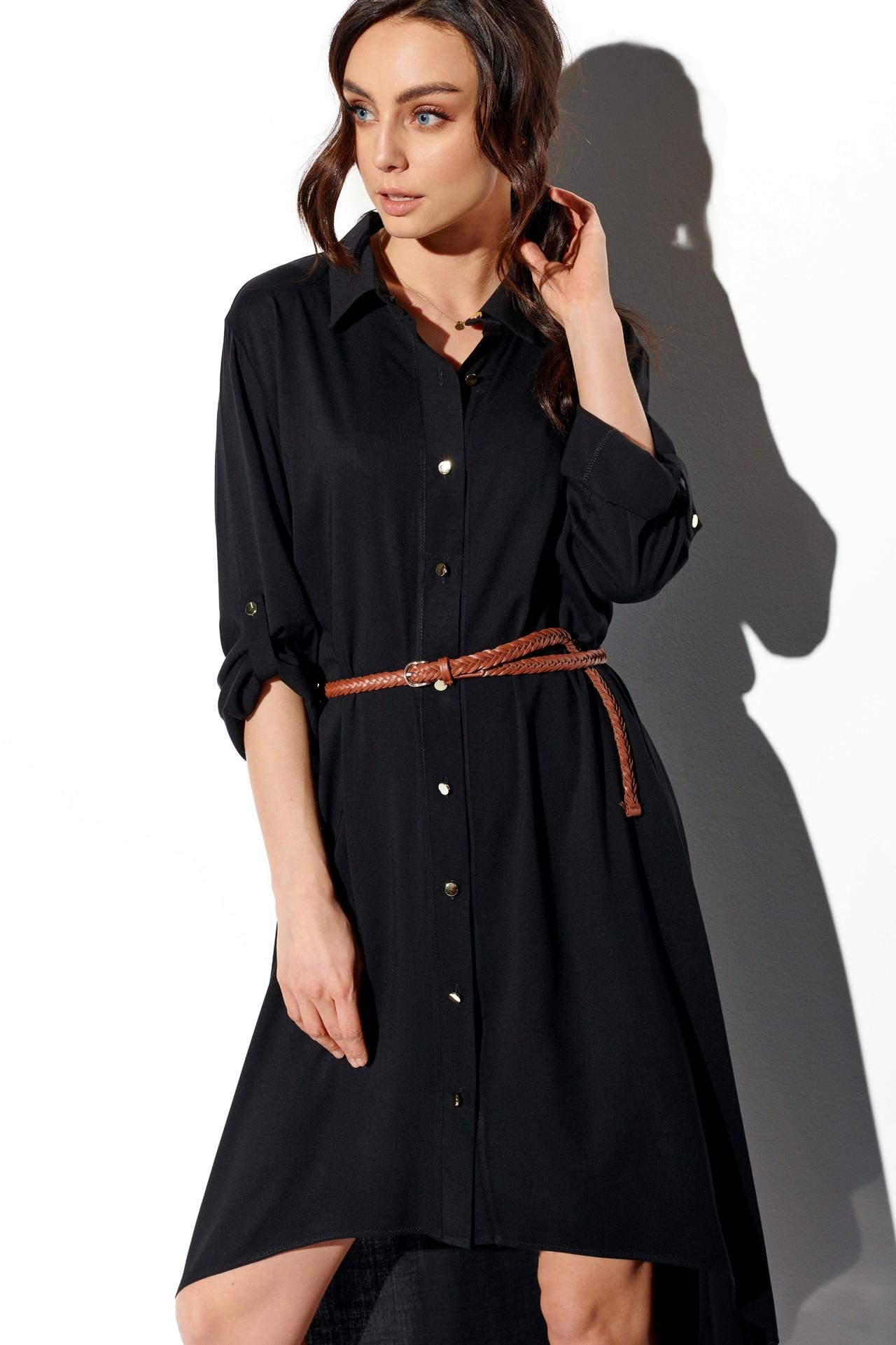 Schwarzes Hemdblusenkleid