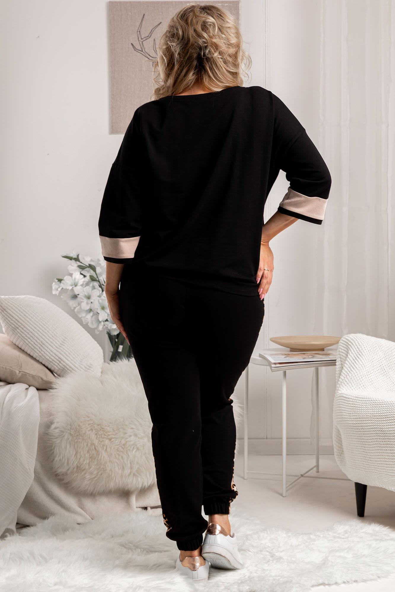 Set aus Sweatshirt und Jogginghose in Schwarz mit Leoprint Rückansicht