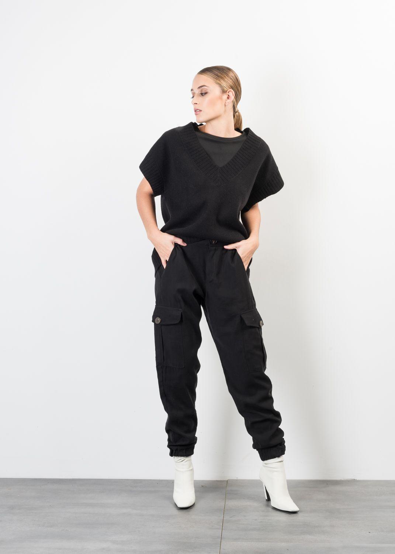 Schwarze Cargo Hose mit Taschen