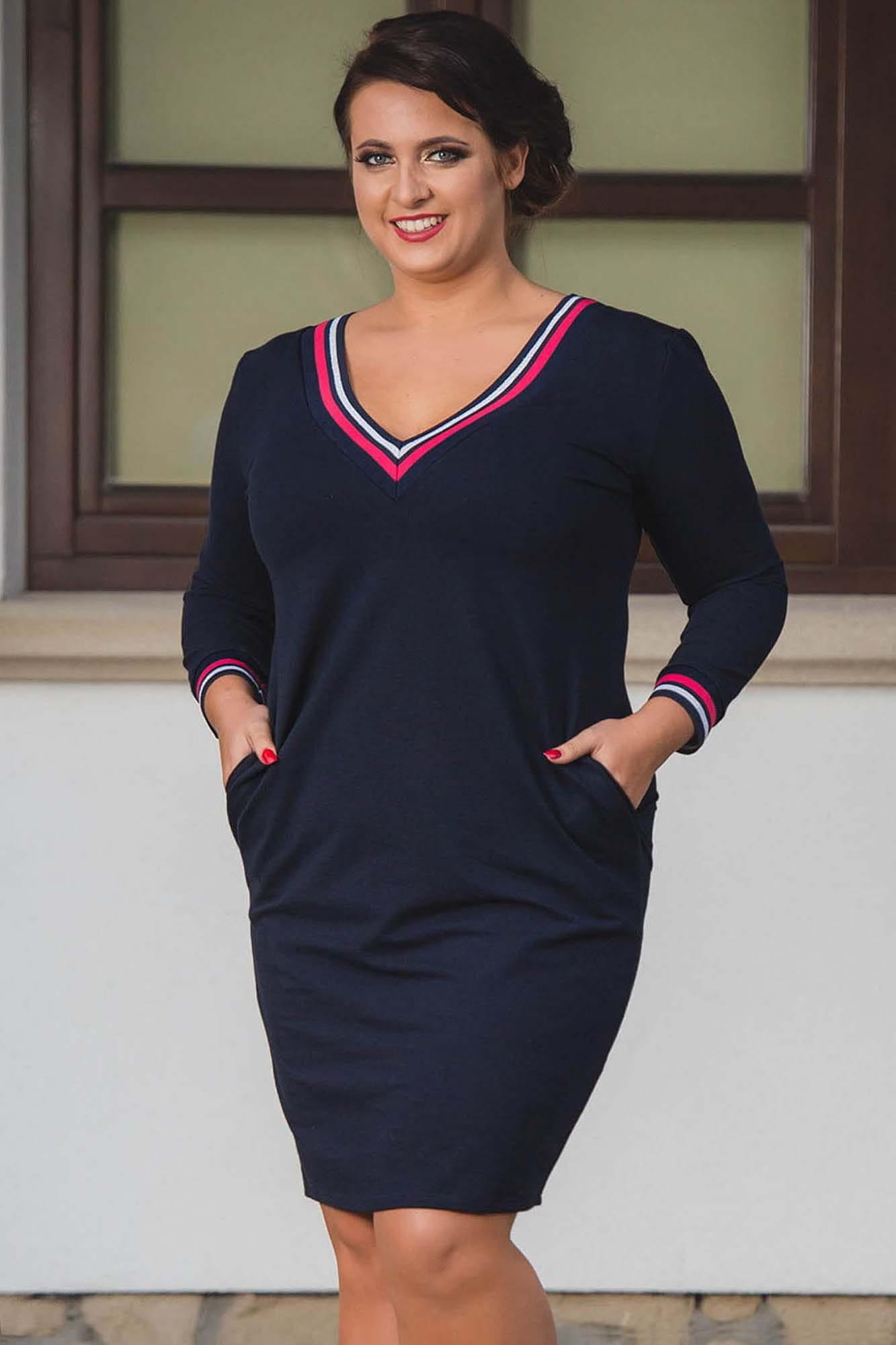 Kleid mit V-Ausschnitt in Marineblau Detailansicht