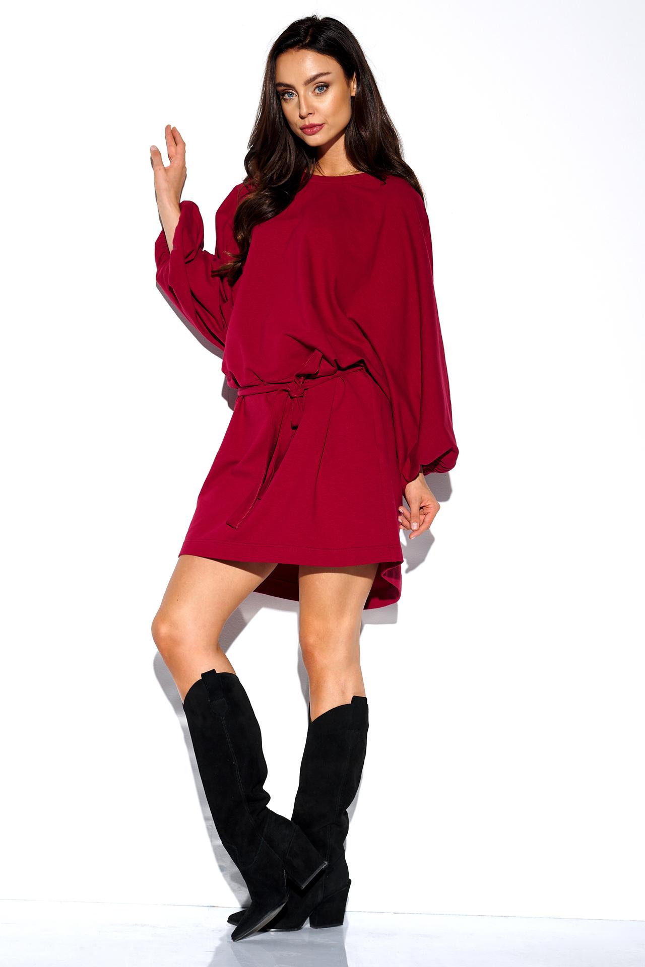 Sweatshirt Kleid in Bordeaux
