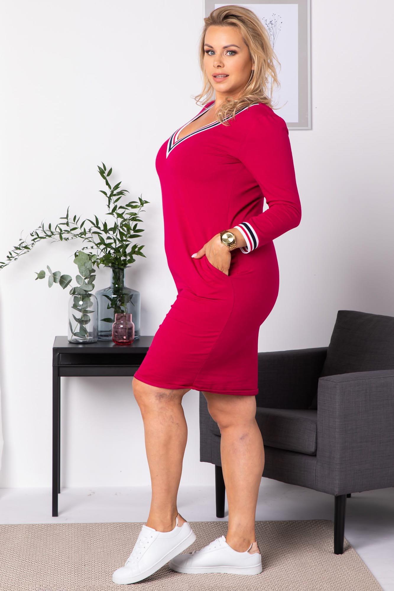 Kleid mit V-Ausschnitt in Pink Seitenansicht