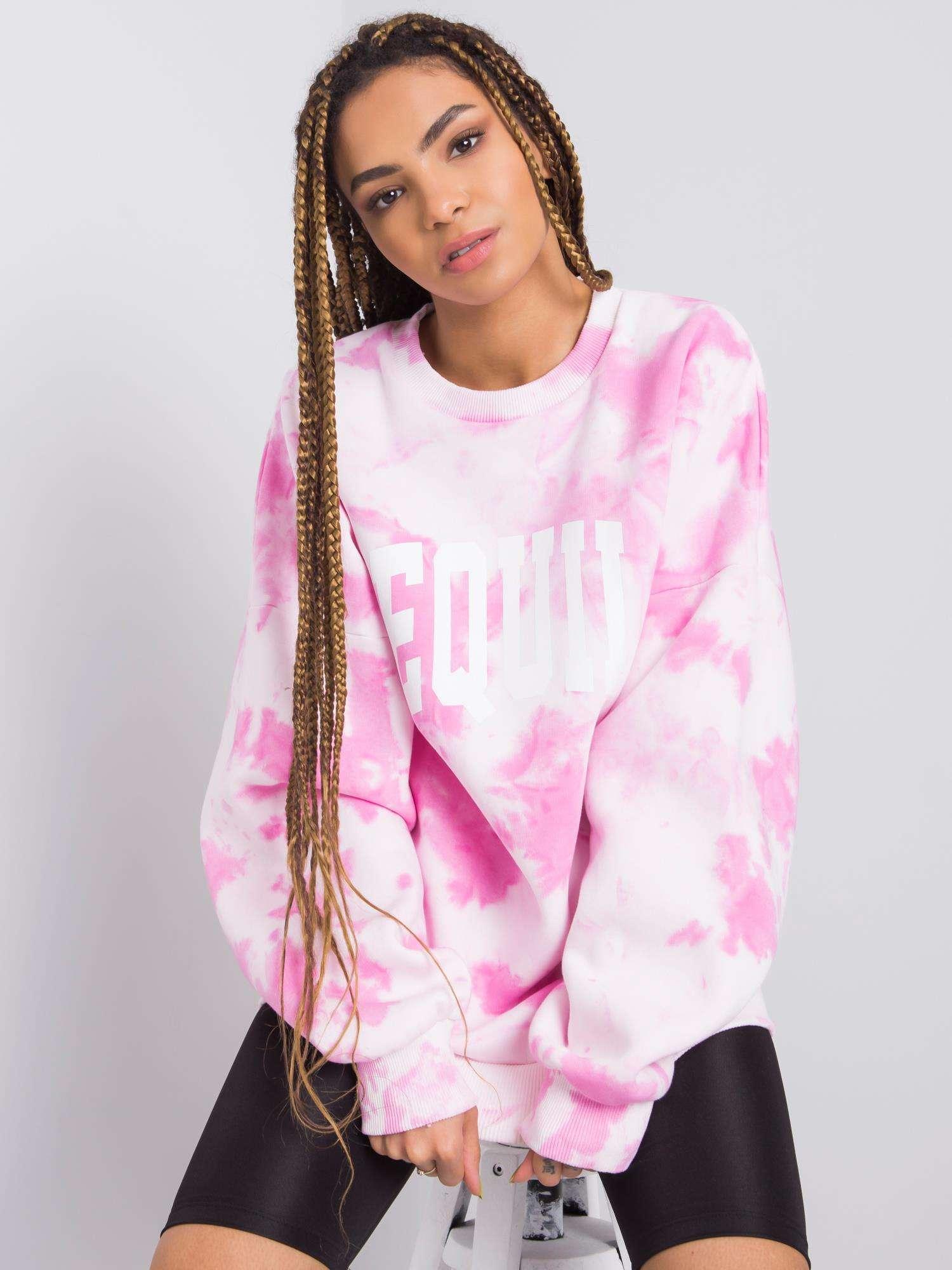 Sweatshirt in Rosa Weiß Tie-Dye Vorderansicht