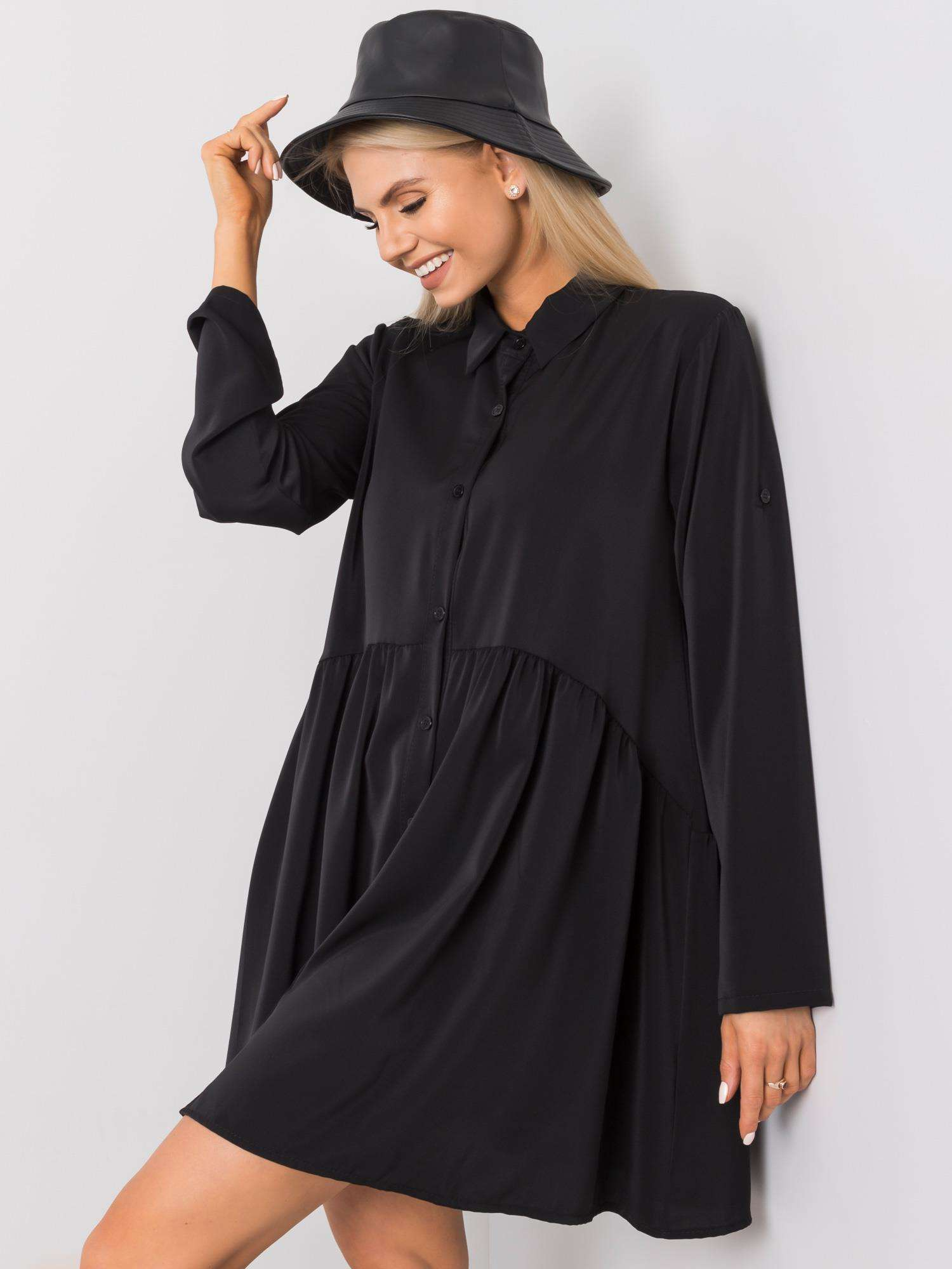 Minikleid in Schwarz mit verspieltem Look Seitenansicht