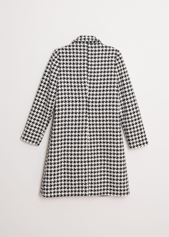 Mantel mit Hahnentrittmuster in Schwarz-Weiß Produktansicht hinten