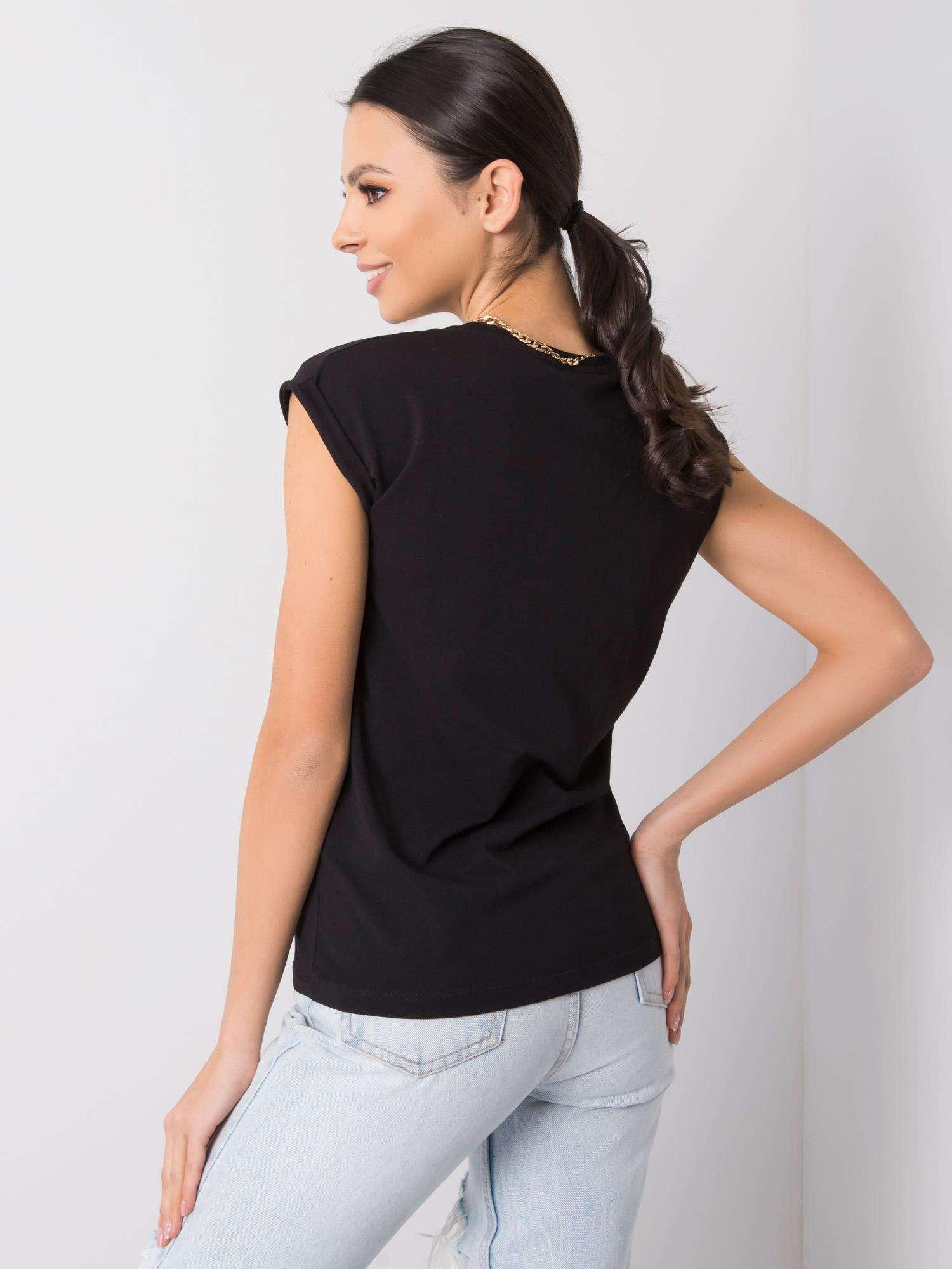 T-Shirt in Schwarz mit V-Ausschnitt Rückansicht