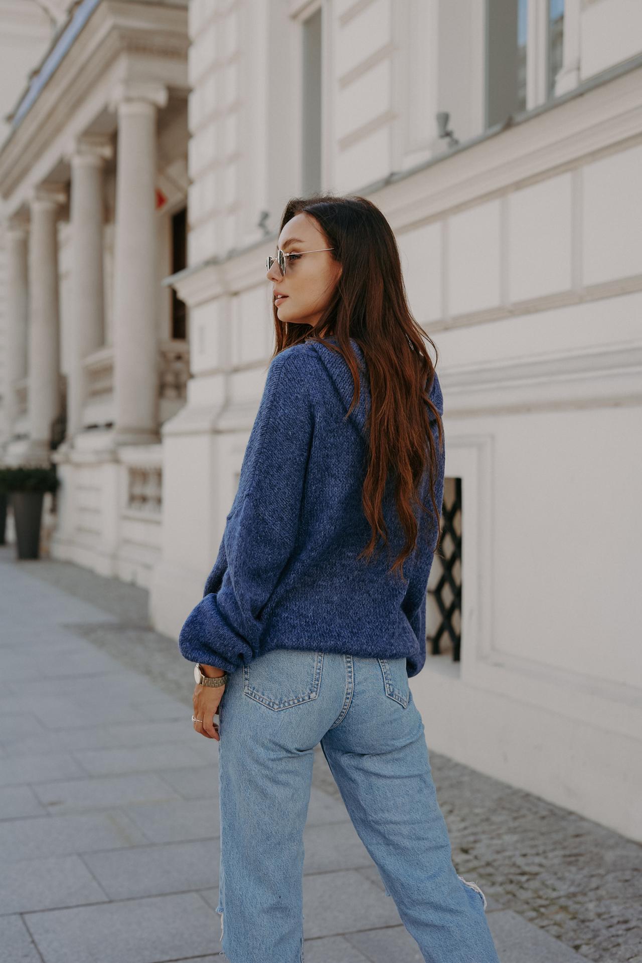 Jeansblauer Oversized Strick Hoodie