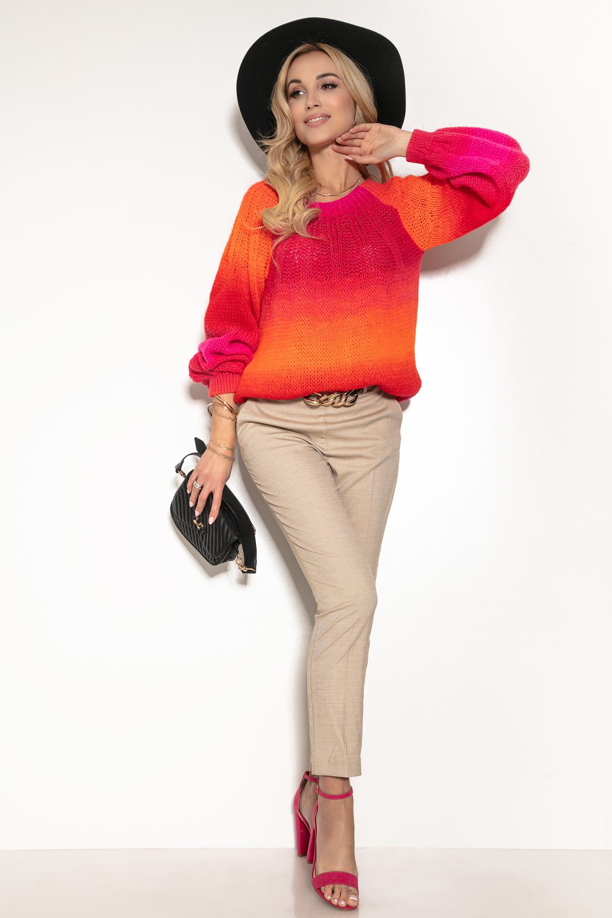 Pullover mit Farbverlauf in Orange Pink und Rot Komplettansicht
