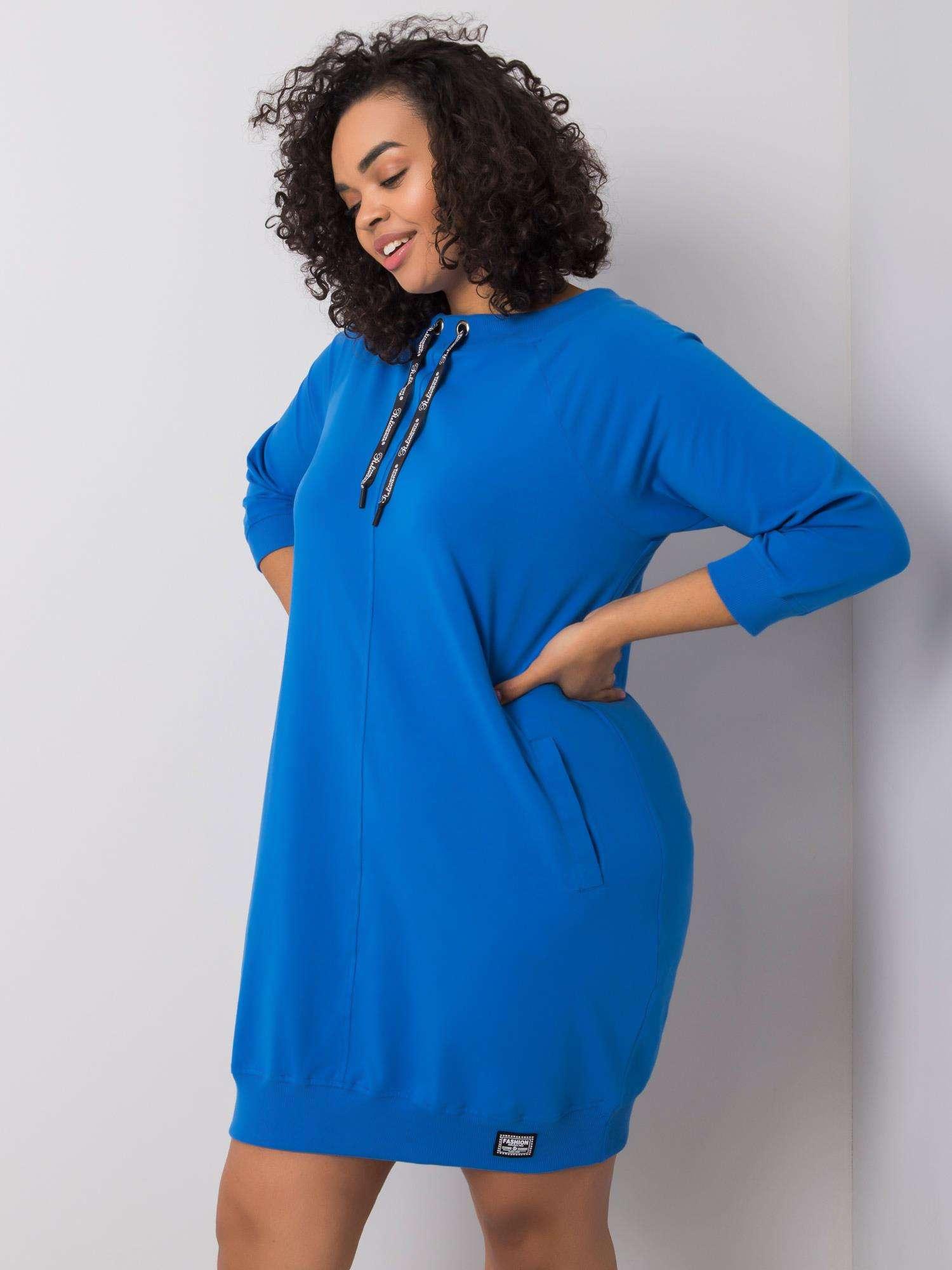 Sweatshirt Kleid in Opablau Curvy Seitenansicht