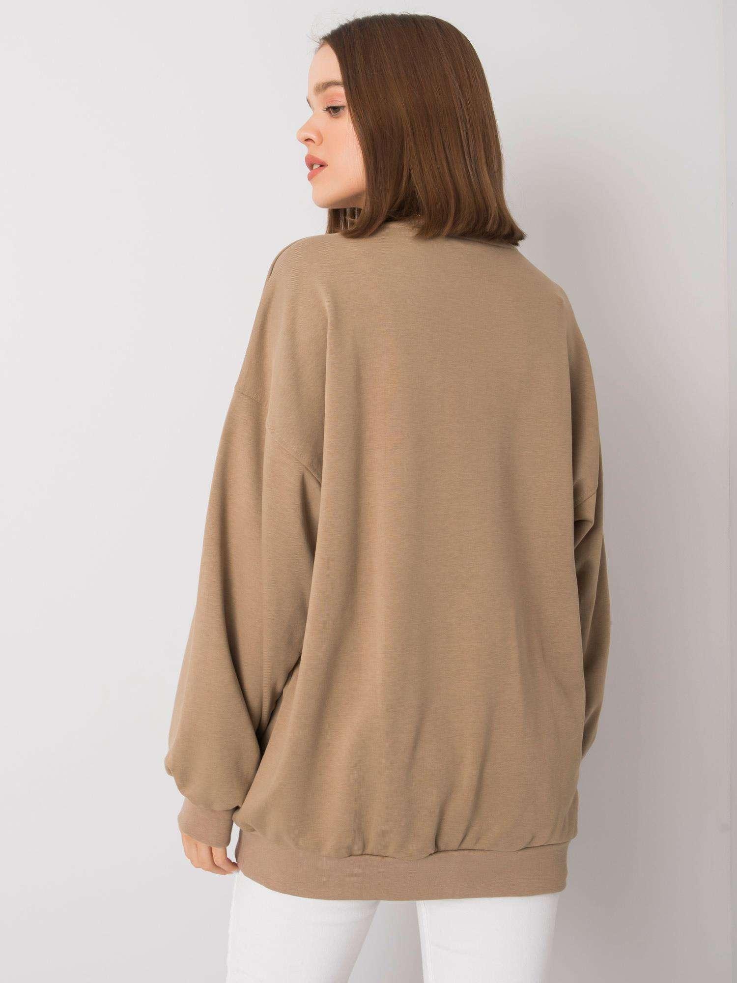 Sweatshirt in Beige mit goldener  Stickerei Rückansicht