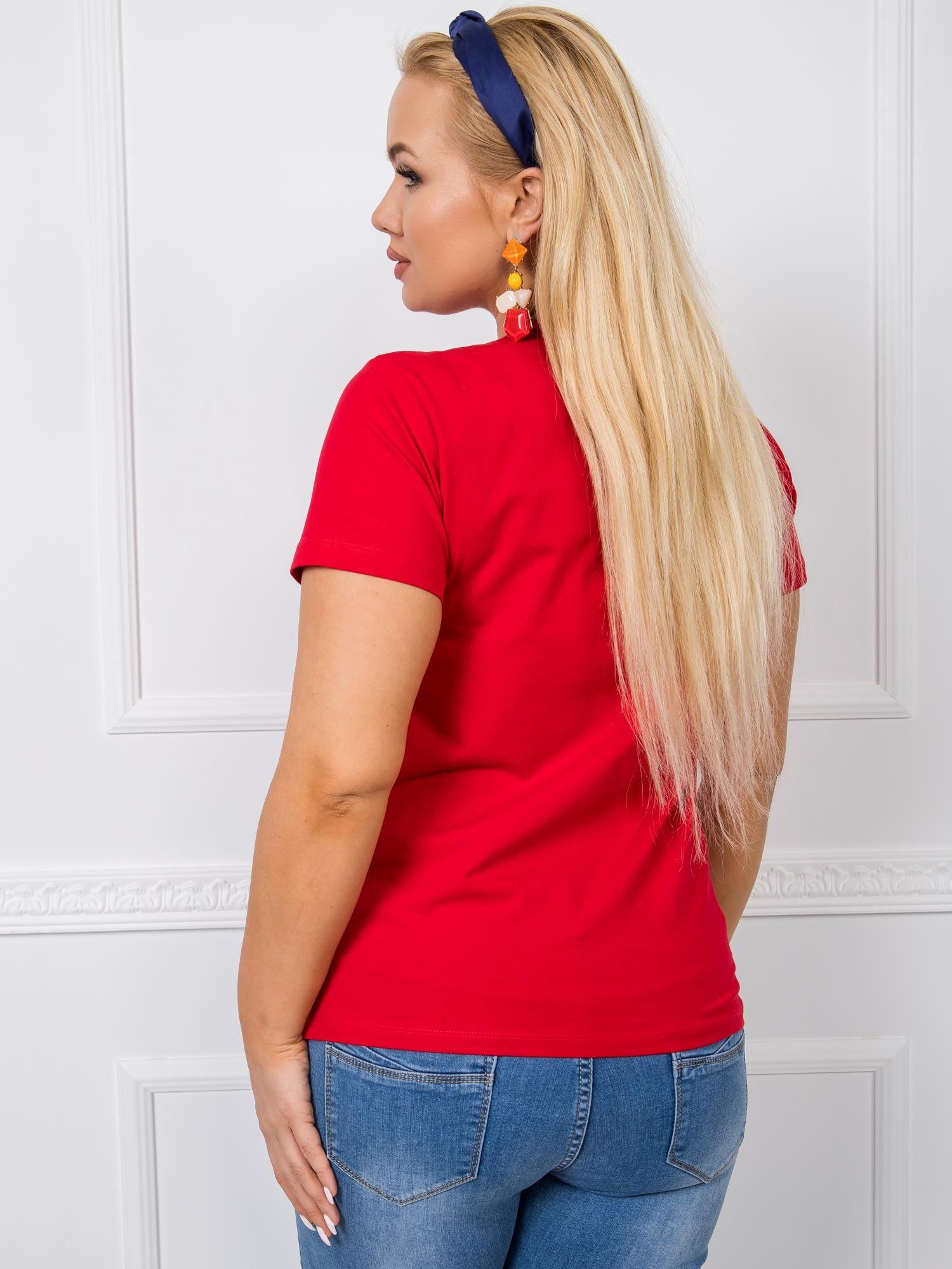 T-Shirt in Rot mit V-Ausschnitt Rückansicht