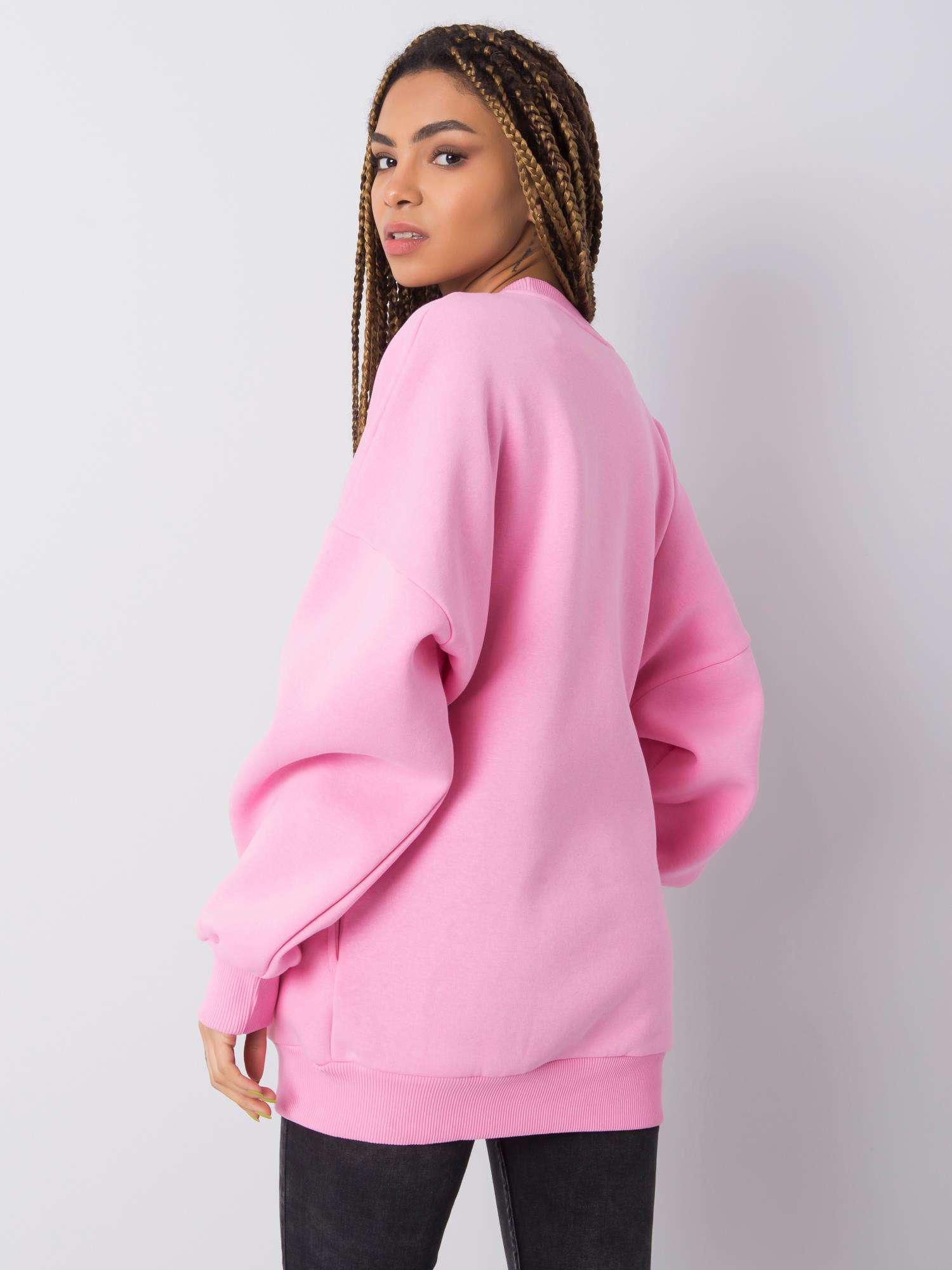 Sweatshirt in Rosa mit Aufdruck Rückansicht