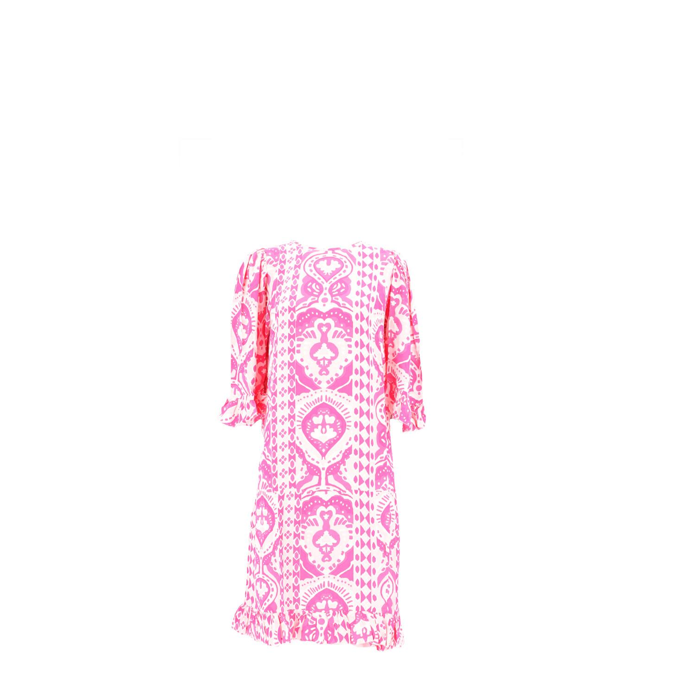 Kleid mit All-Over-Print in Rosa-Weiß