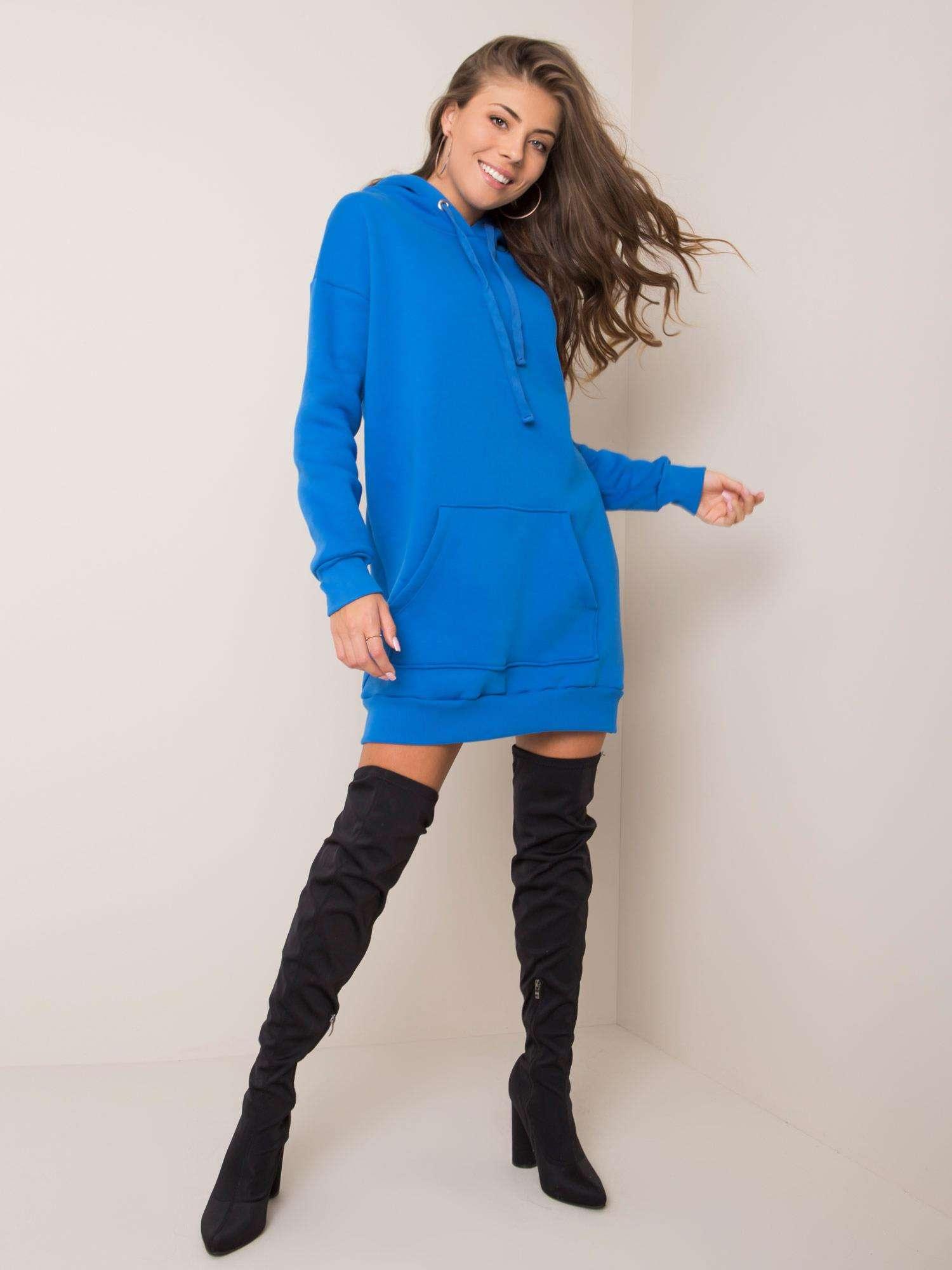 Sweatshirt Kleid in Opal Blau Vorderansicht