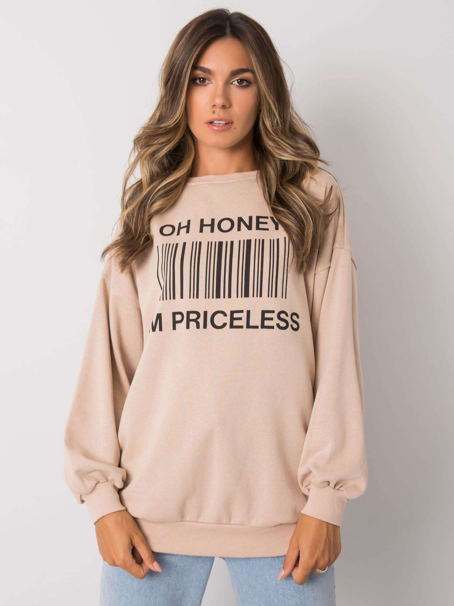 Sweatshirt in Beige mit schwarzem Frontprint Vorderansicht